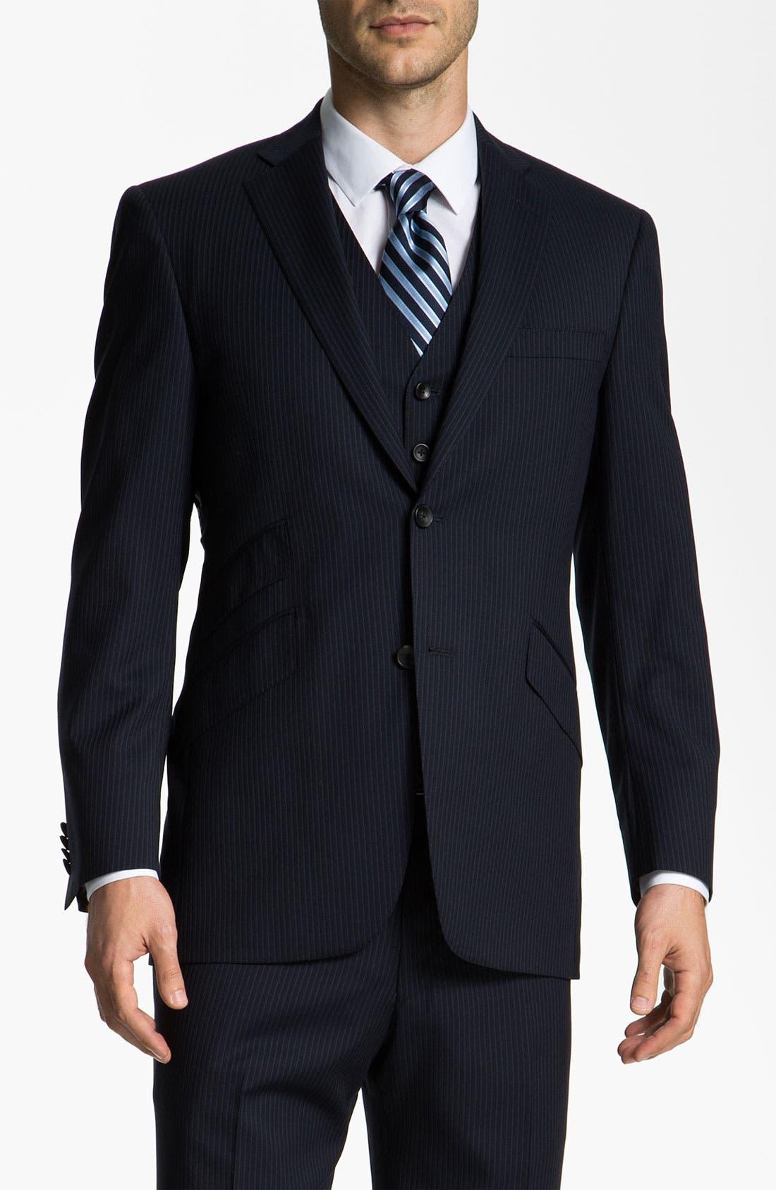 Alternate Image 1 Selected - Hart Schaffner Marx Stripe Three Piece Wool Suit
