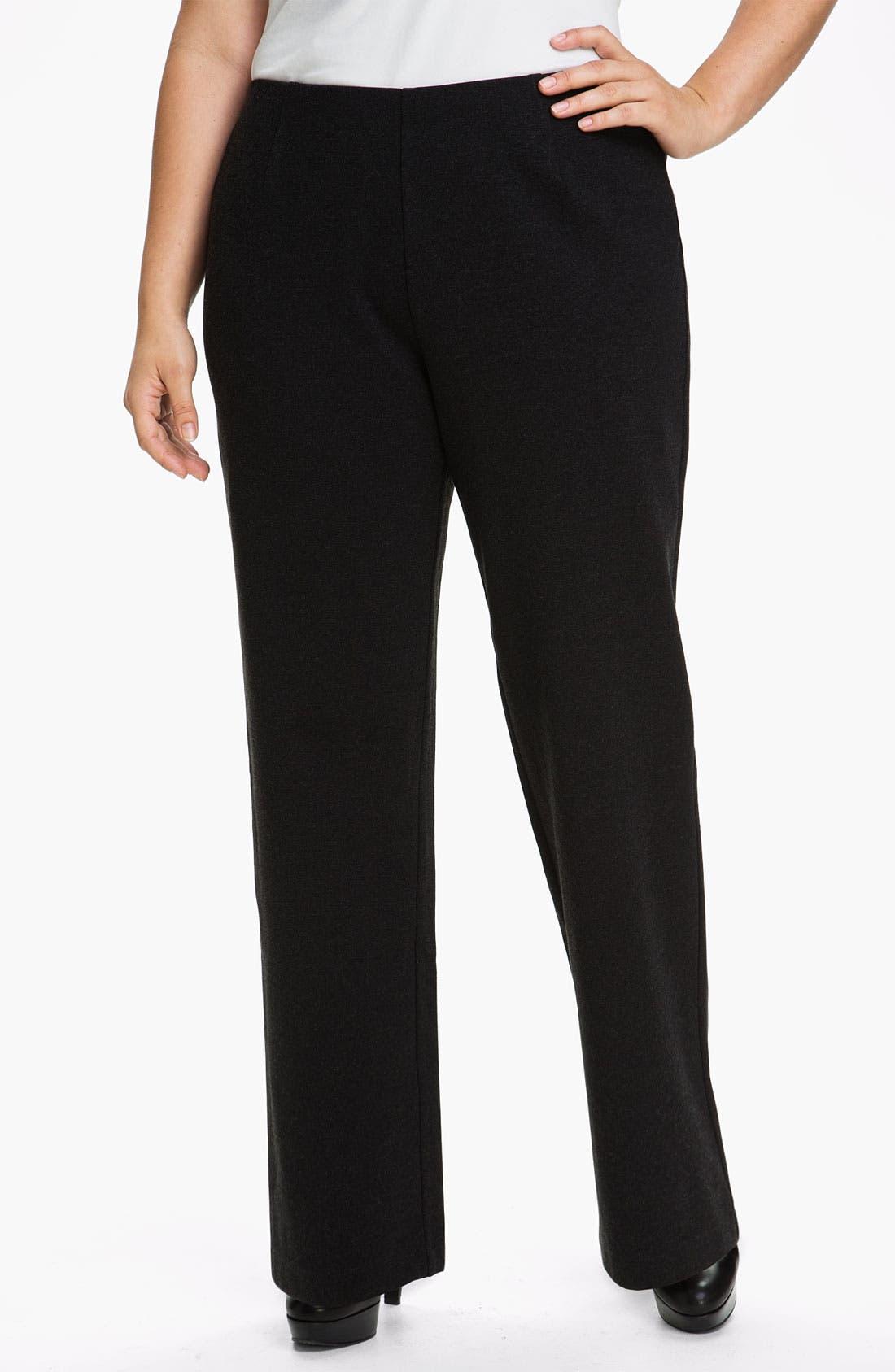Alternate Image 1 Selected - Eileen Fisher Straight Leg Knit Pants (Plus)