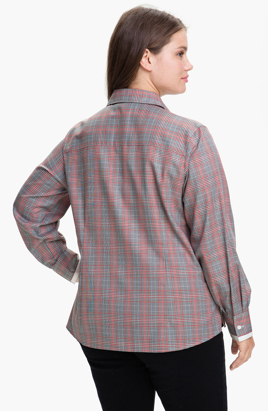 Alternate Image 2  - Foxcroft Glen Plaid Wrinkle Free Shaped Shirt (Plus)