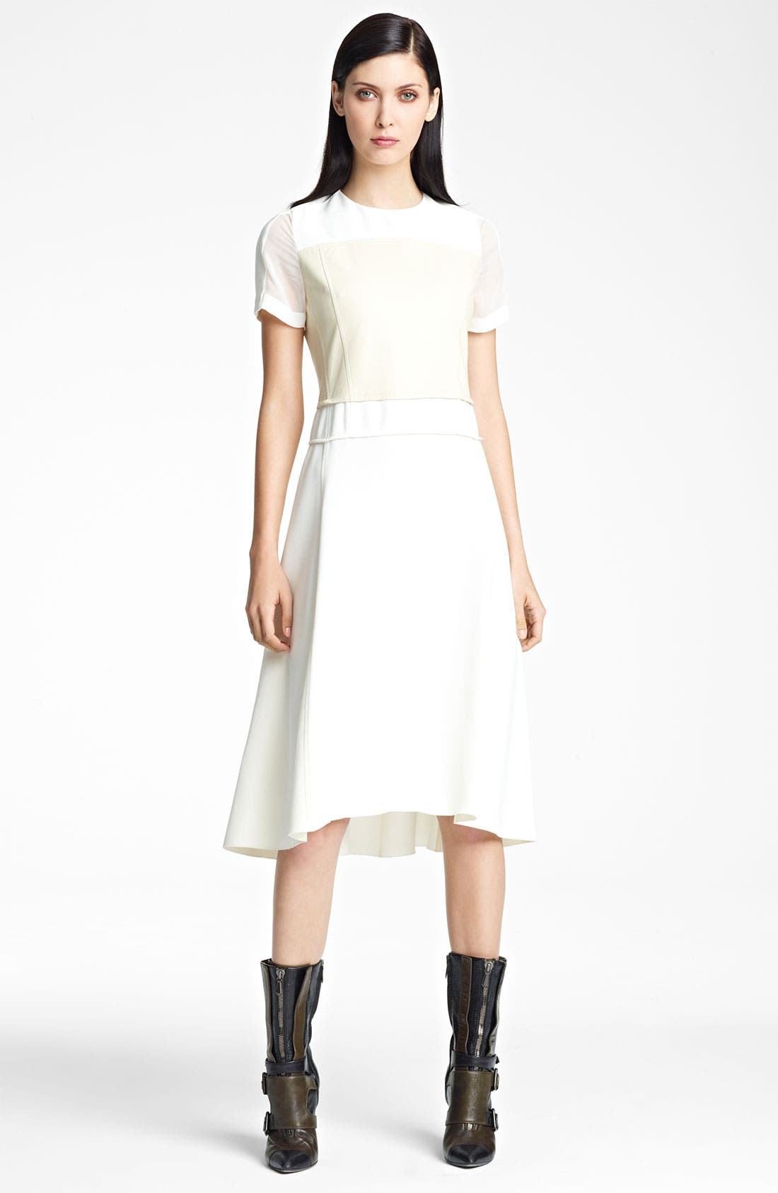 Main Image - Reed Krakoff Leather & Stretch Woven Dress