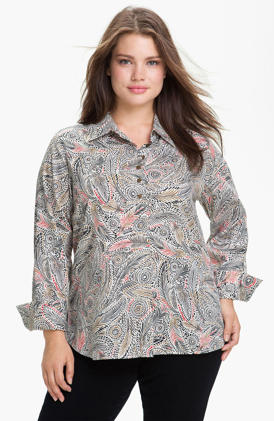 Main Image - Foxcroft Feather Print Wrinkle Free Shaped Shirt (Plus)