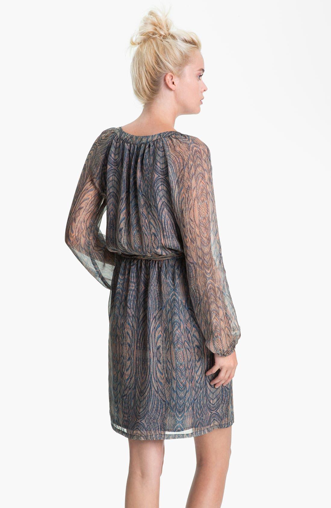 Alternate Image 2  - Presley Skye Printed Blouson Sleeve Silk Dress