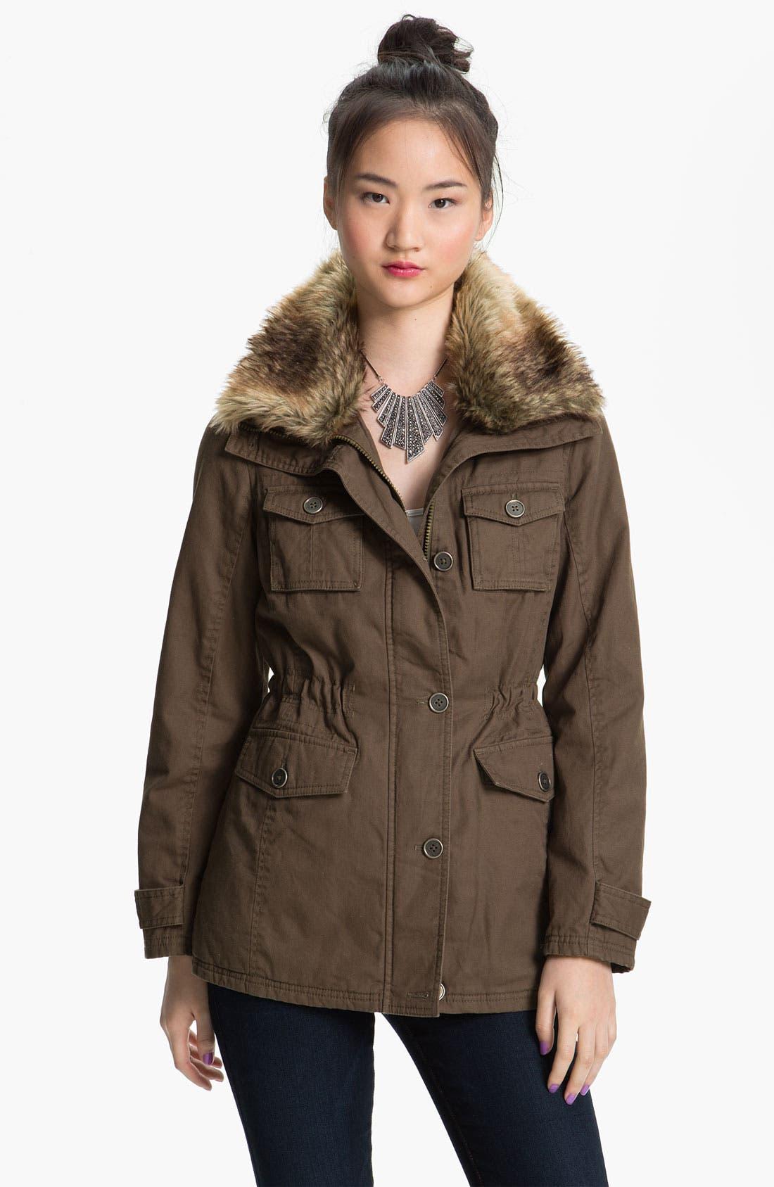 Main Image - Sashimi Faux Fur Collar Utility Anorak (Juniors)
