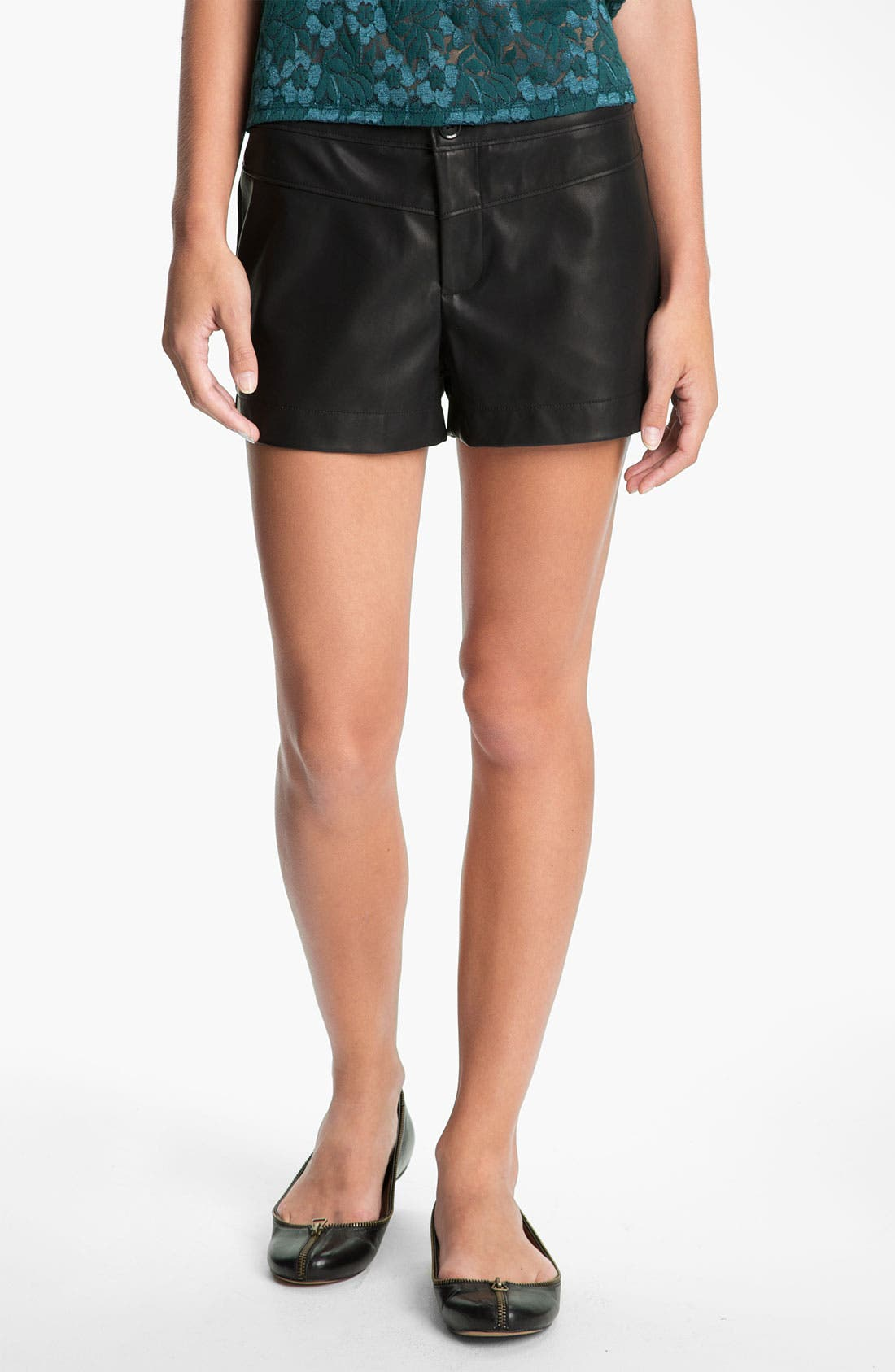 Main Image - Lily White Faux Leather Shorts (Juniors)
