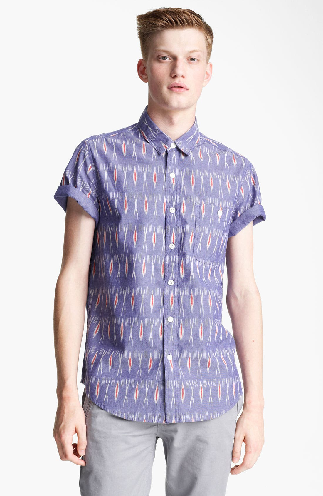 Main Image - Topman 'High Roller' Ikat Pattern Shirt