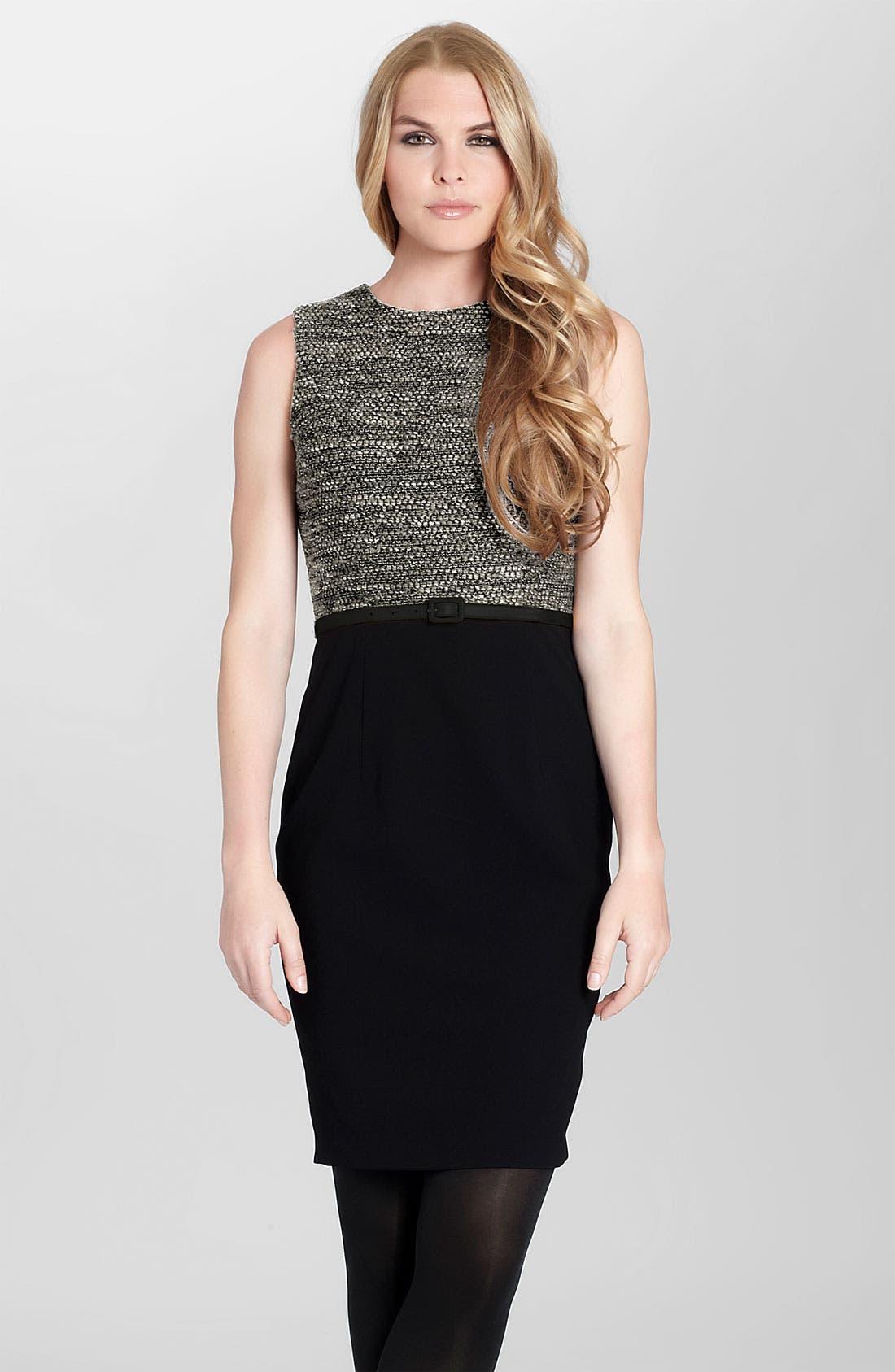 Main Image - Cynthia Steffe 'Calista' Tweed Bodice Sheath Dress