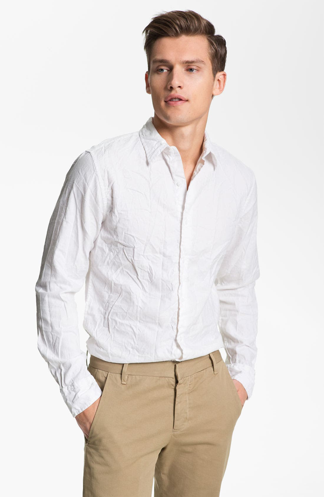 Main Image - Save Khaki Oxford Shirt