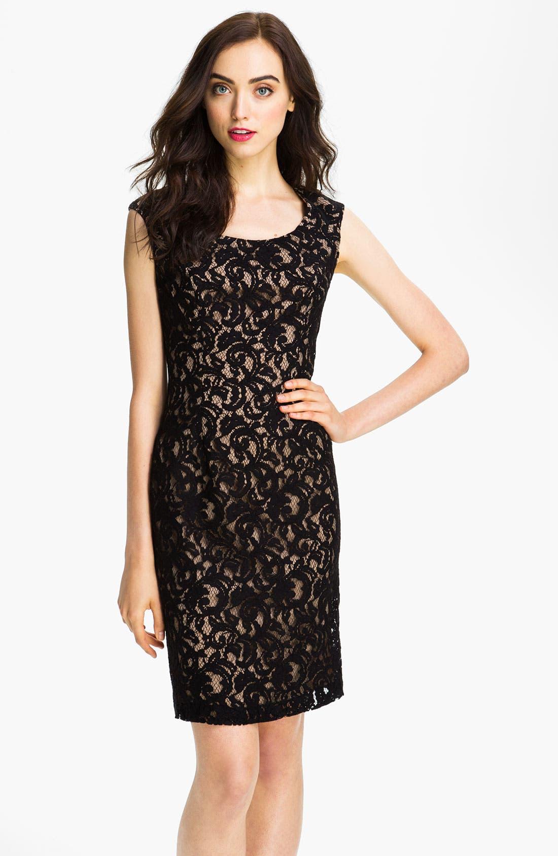 Main Image - Adrianna Papell Embroidered Lace Overlay Sheath Dress (Regular & Petite)
