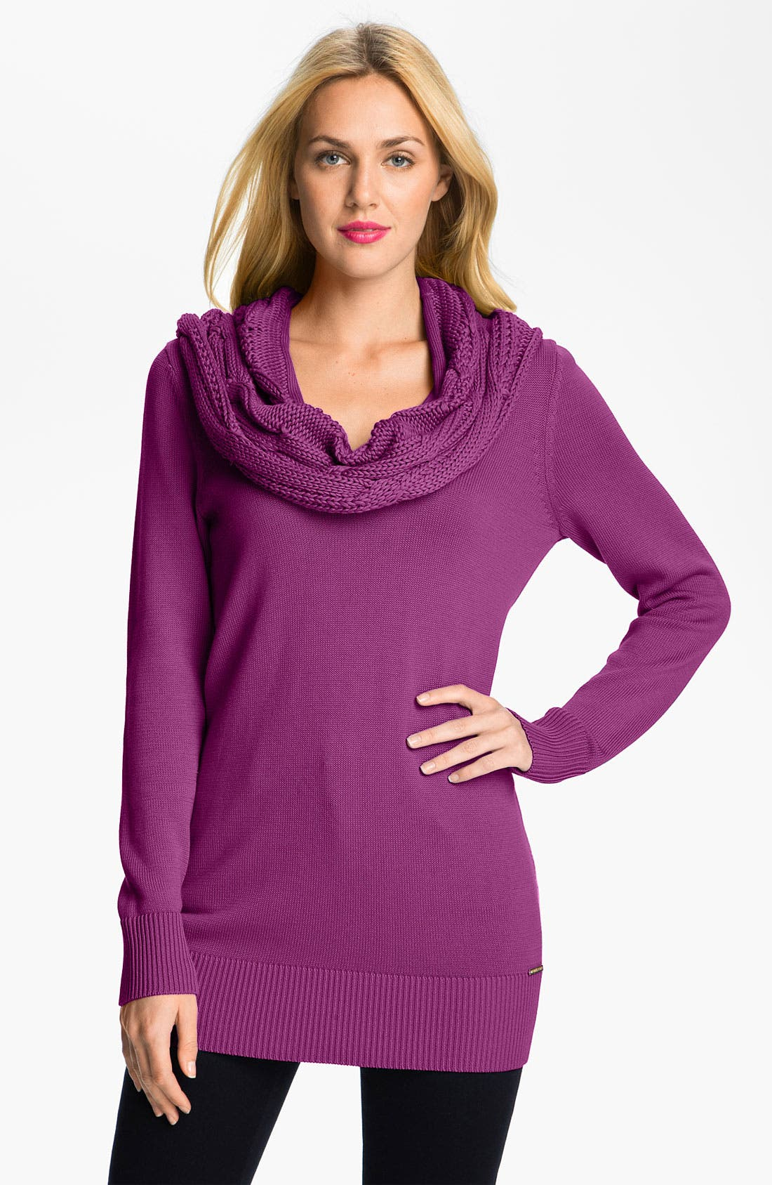 Alternate Image 1 Selected - MICHAEL Michael Kors Cabled Cowl Neck Sweater