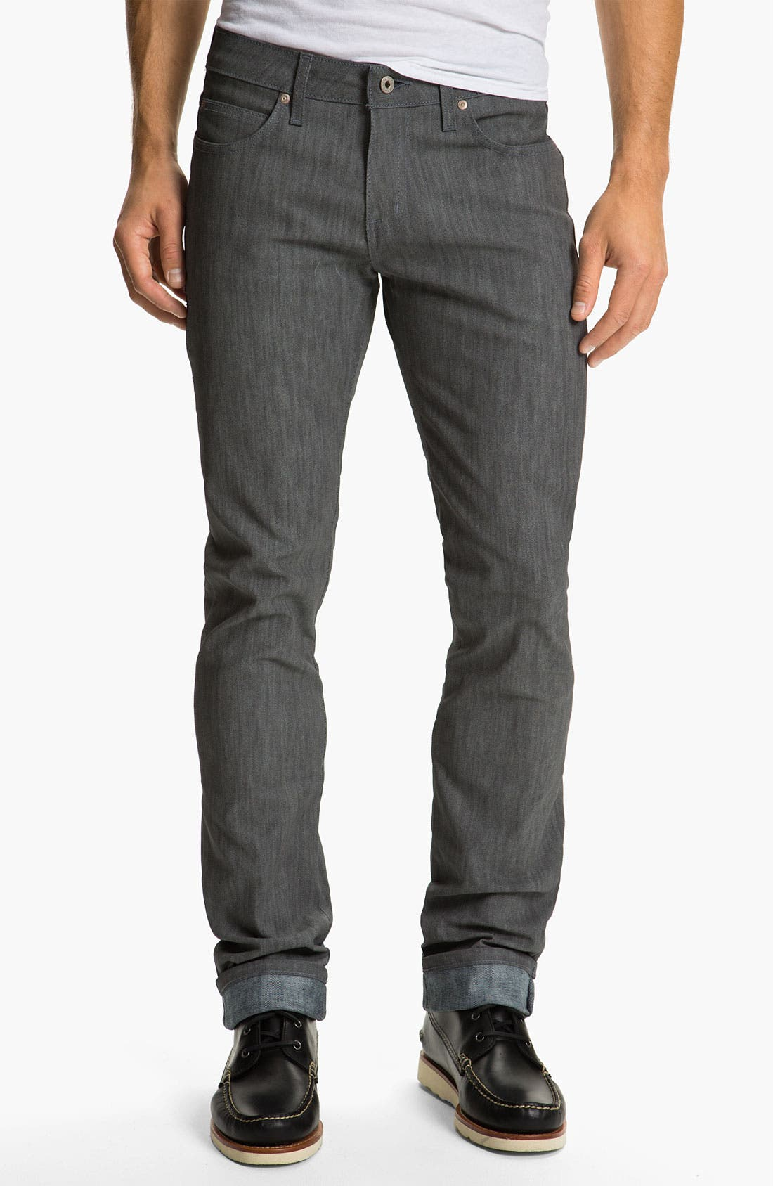 Alternate Image 3  - Naked & Famous Denim 'Skinny Guy' Slim Straight Leg Jeans (Grey Glow In The Dark)