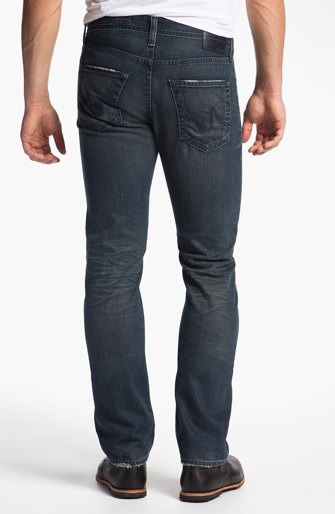 Alternate Image 2  - AG Jeans 'Matchbox' Slim Straight Leg Jeans (7 Year Coated Navy)