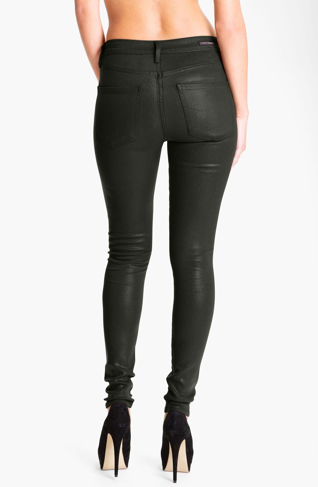 Alternate Image 2  - Citizens of Humanity 'Rocket' Skinny Leatherette Jeans (Dark Ivy)