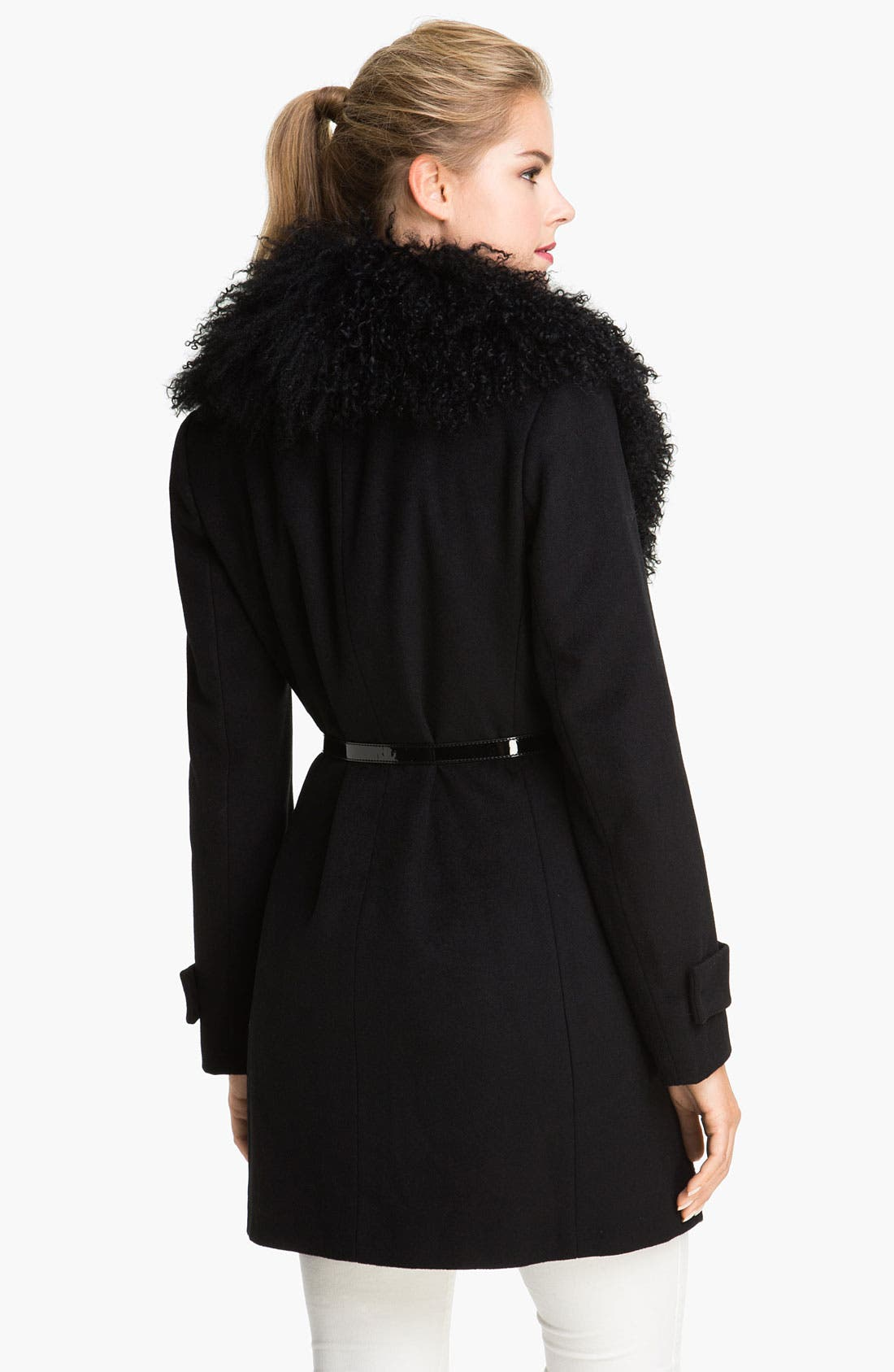 Alternate Image 2  - MICHAEL Michael Kors Genuine Lamb Fur Collar Coat
