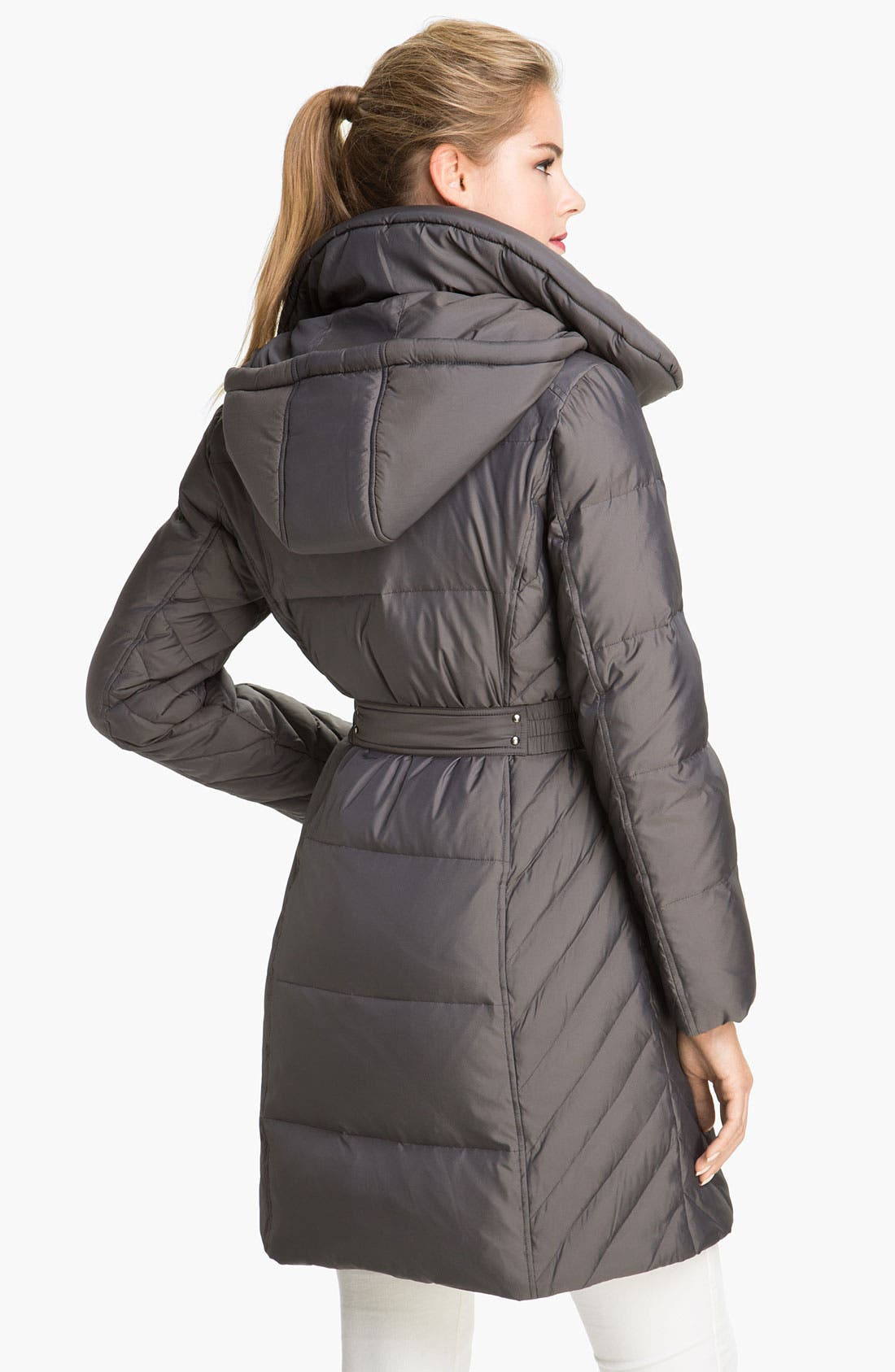 Alternate Image 2  - Gallery Quilted Coat with Detachable Hood (Petite)