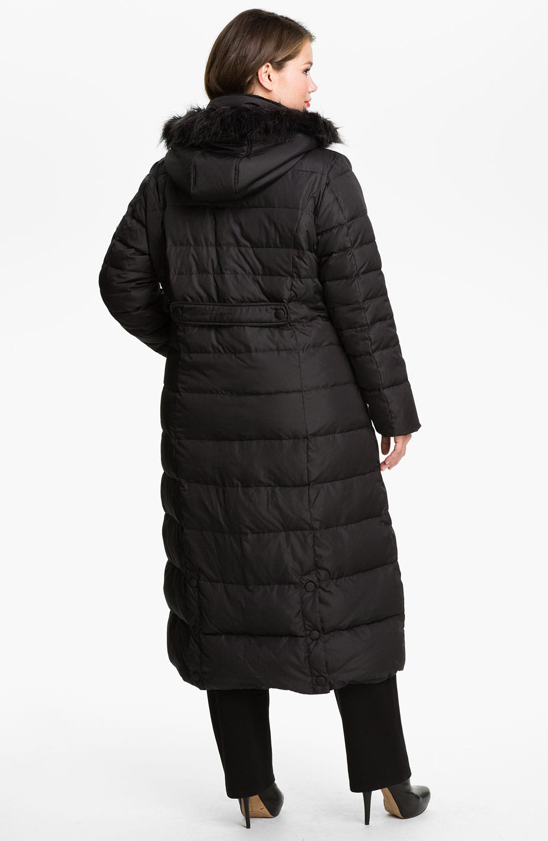 Alternate Image 2  - DKNY Quilted Maxi Coat with Faux Fur Trim (Plus)
