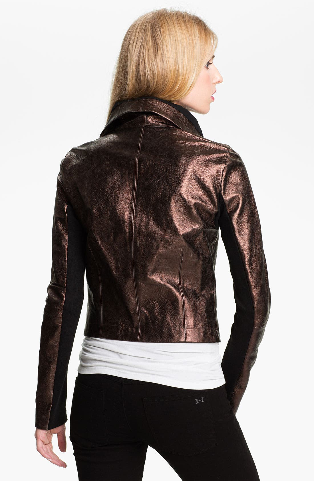 Alternate Image 2  - Veda 'Max' Metallic Leather Moto Jacket