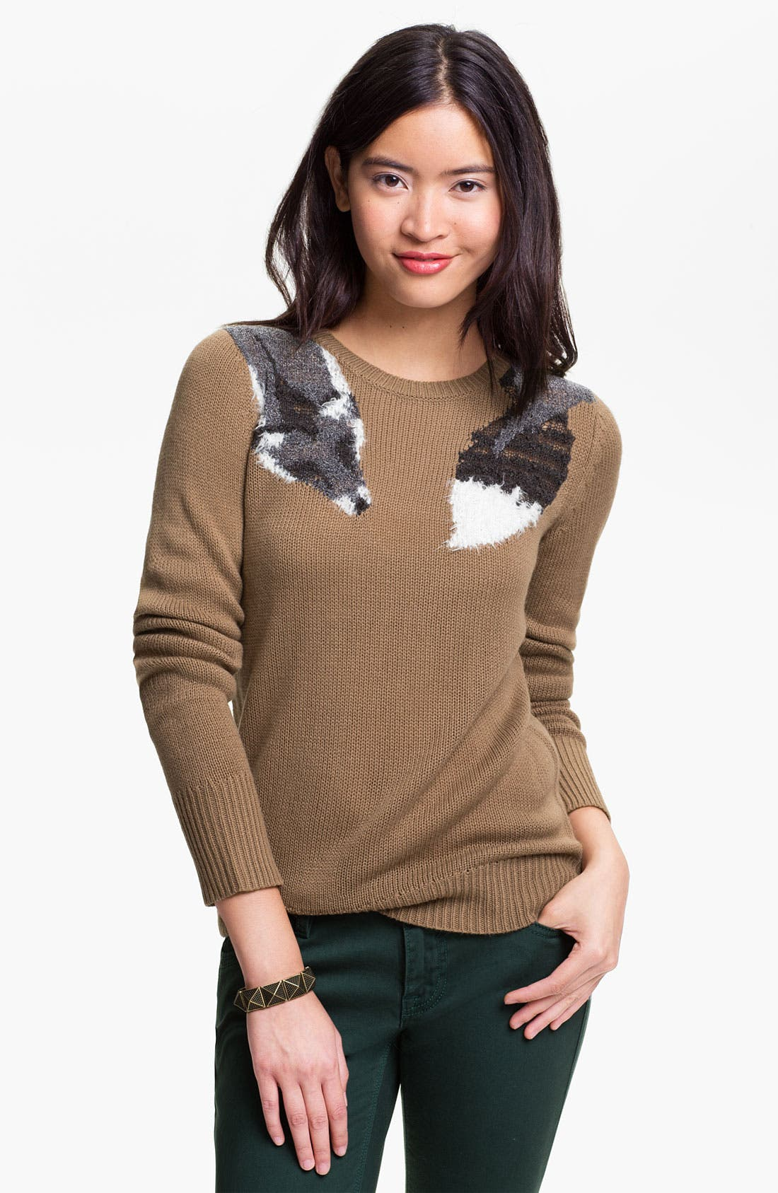 Alternate Image 1 Selected - Frenchi® 'Fox Stole' Sweater (Juniors)