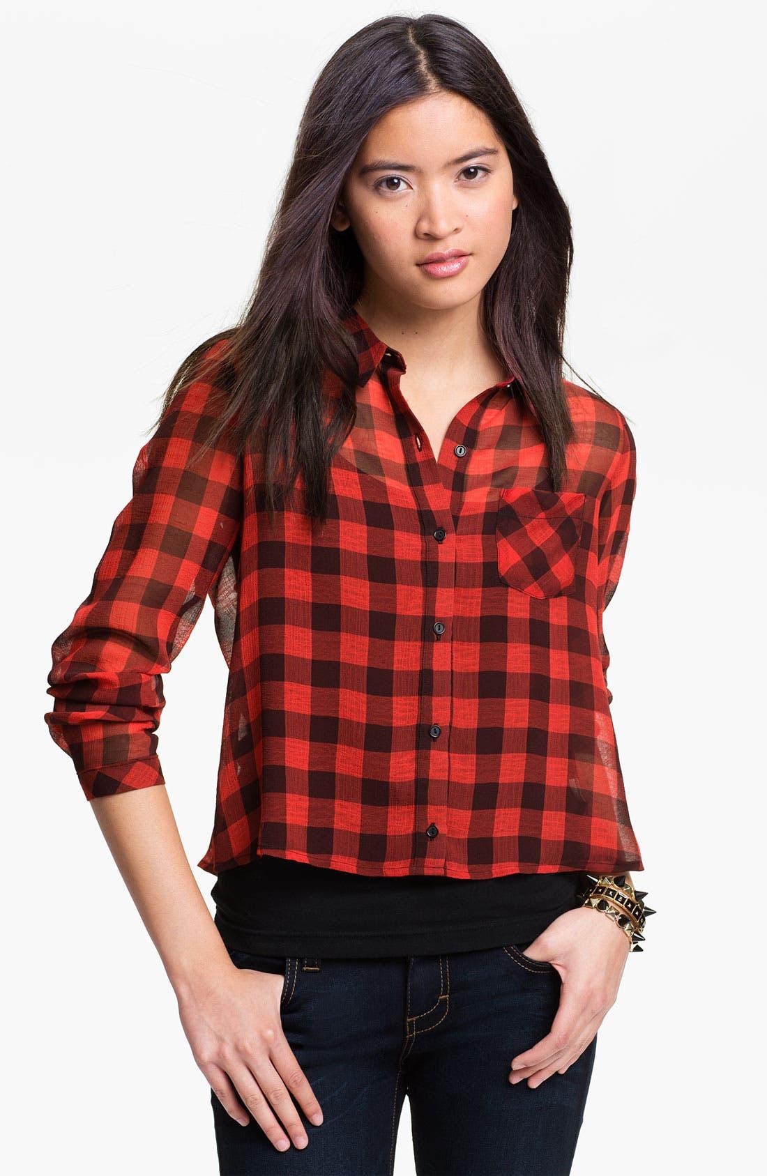 Alternate Image 1 Selected - Elodie Buffalo Plaid Shirt (Juniors)