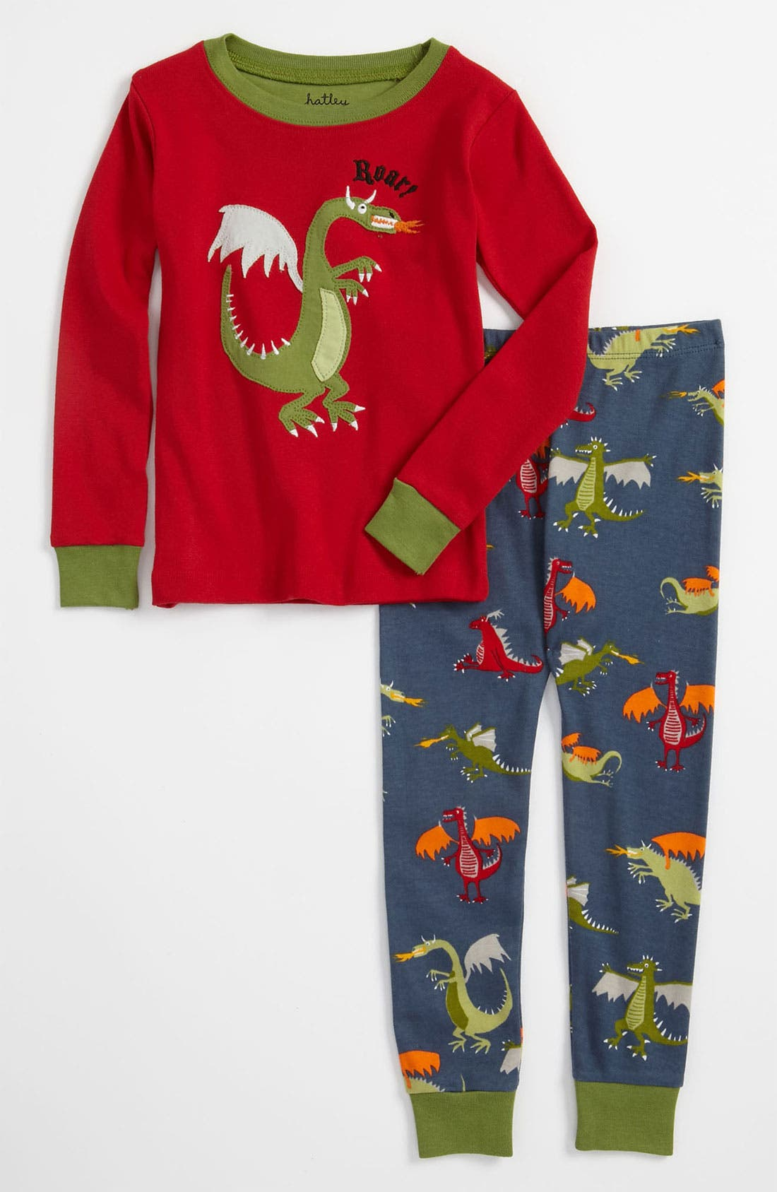 Alternate Image 1 Selected - Hatley 'Dragon' Fitted Two Piece Pajamas (Toddler)