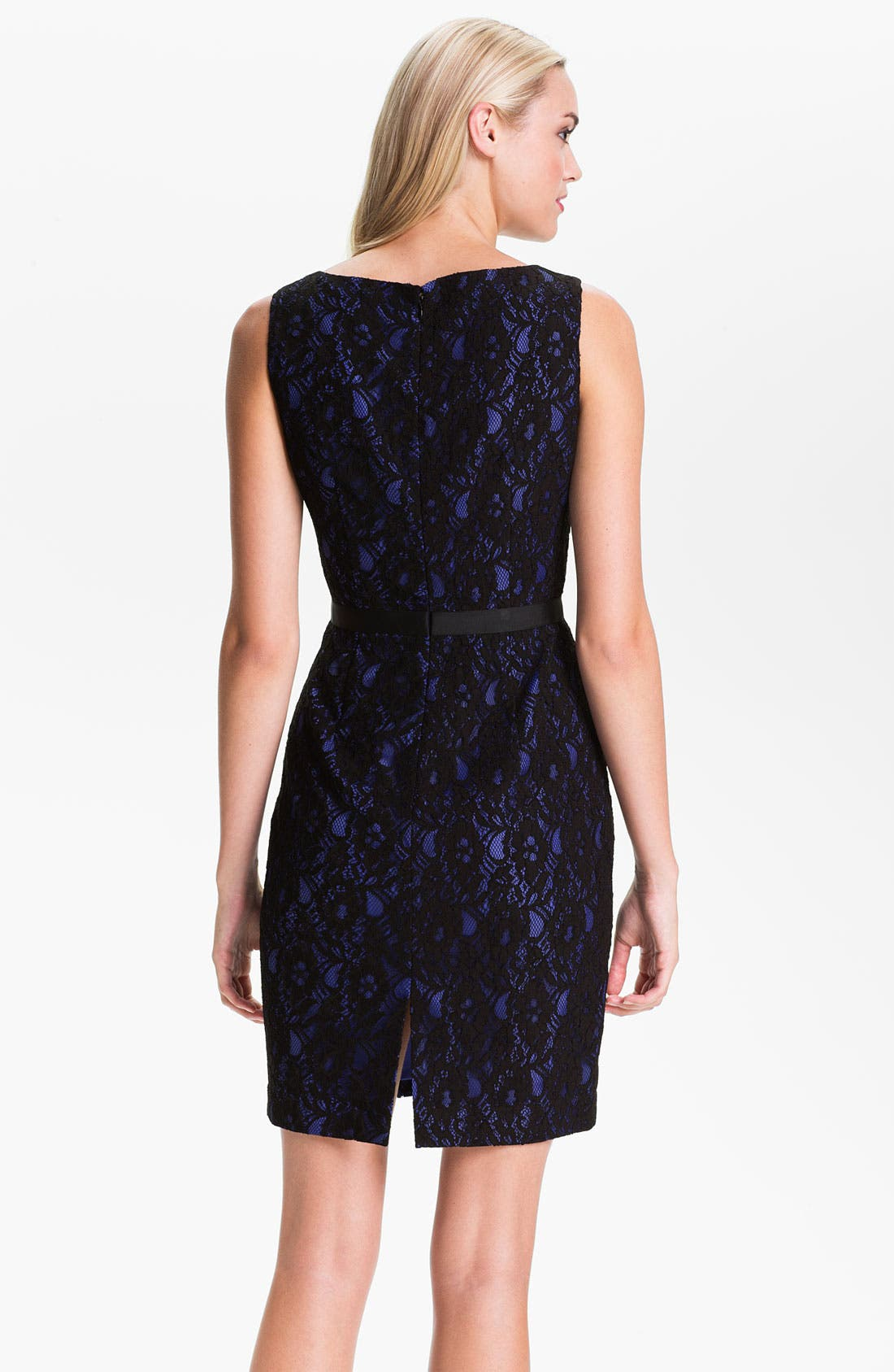 Alternate Image 2  - Calvin Klein Sleeveless Lace Overlay Sheath Dress