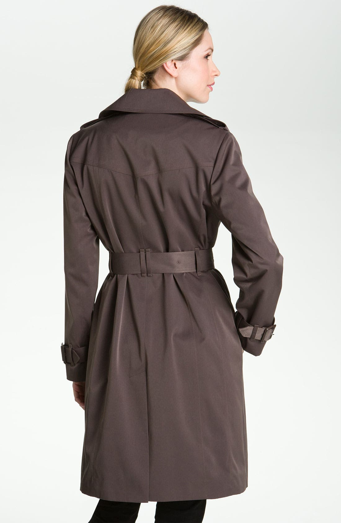 Alternate Image 2  - London Fog Double Breasted Rain Trench Coat (Petite) (Online Exclusive)