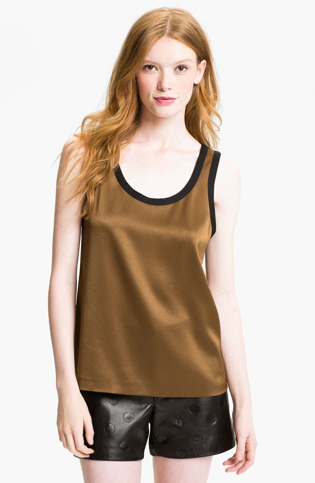Main Image - MARC BY MARC JACOBS 'Elena' Satin Crepe & Mesh Tank