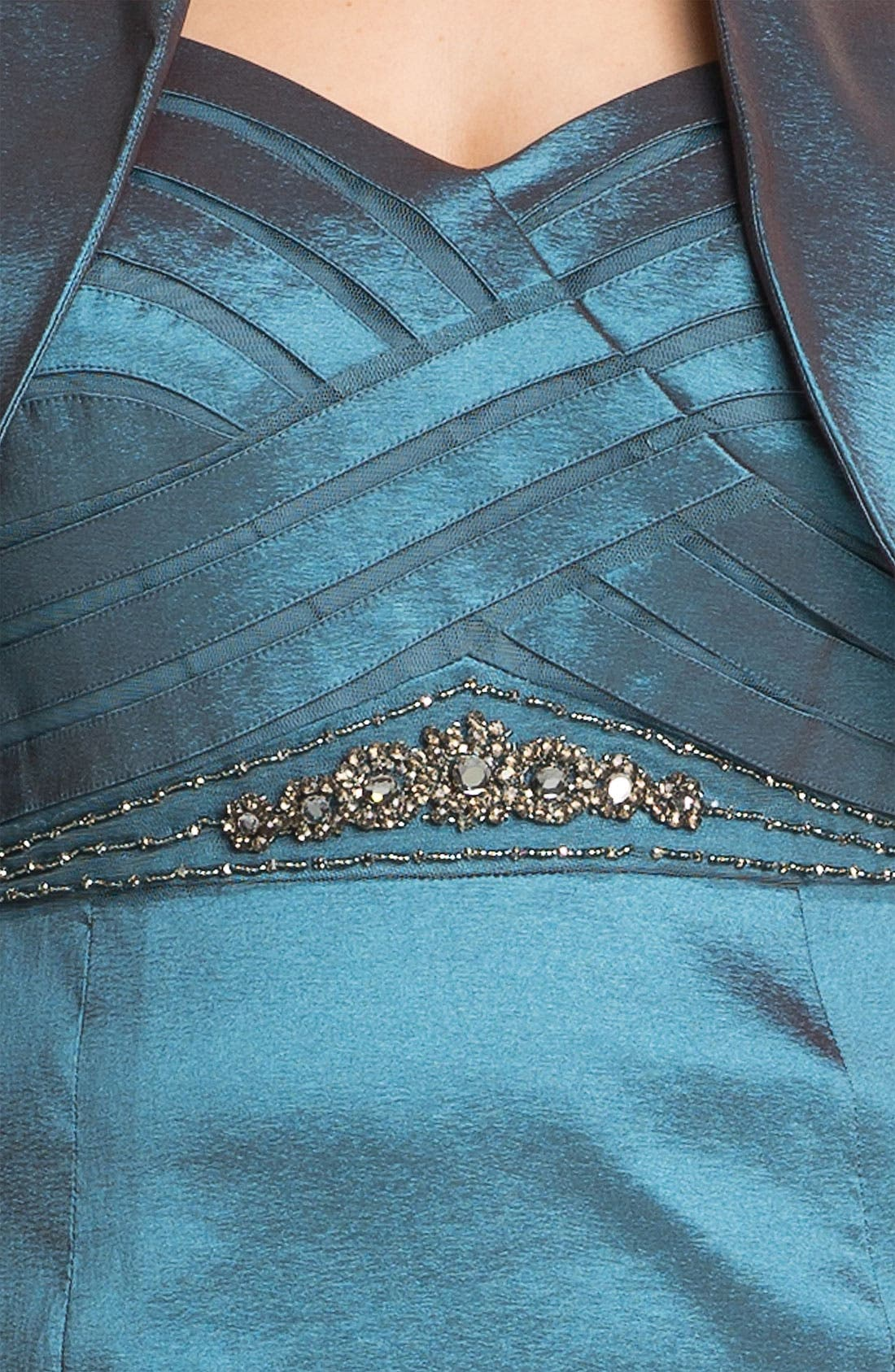 Alternate Image 3  - Adrianna Papell Taffeta Mermaid Gown & Bolero (Plus)