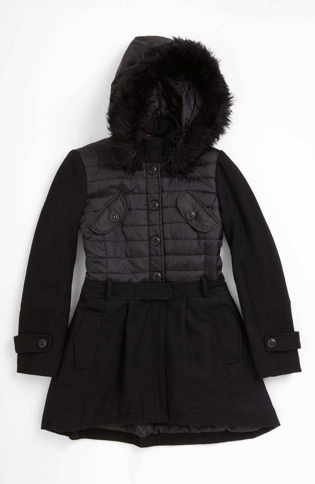Main Image - Collection B Faux Fur Trimmed Coat (Big Girls)