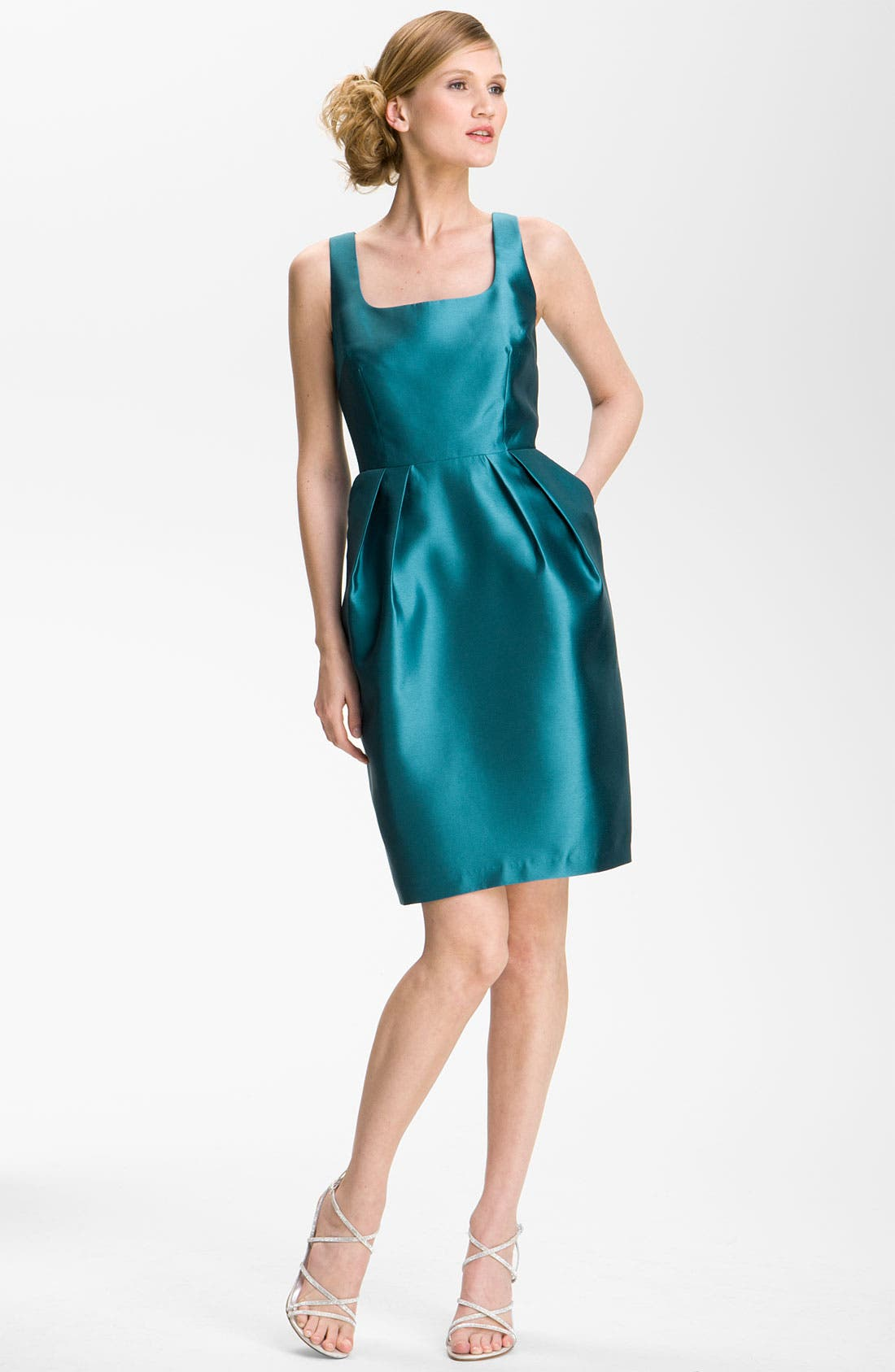 Alternate Image 2  - Alex Evenings Square Neck Sheath Dress & Jacket (Petite)