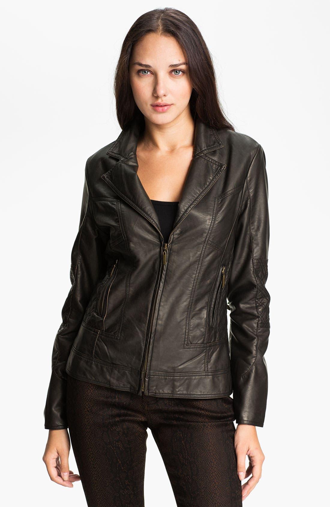 Alternate Image 4  - Conrad C Collection Quilt Trim Faux Leather Jacket