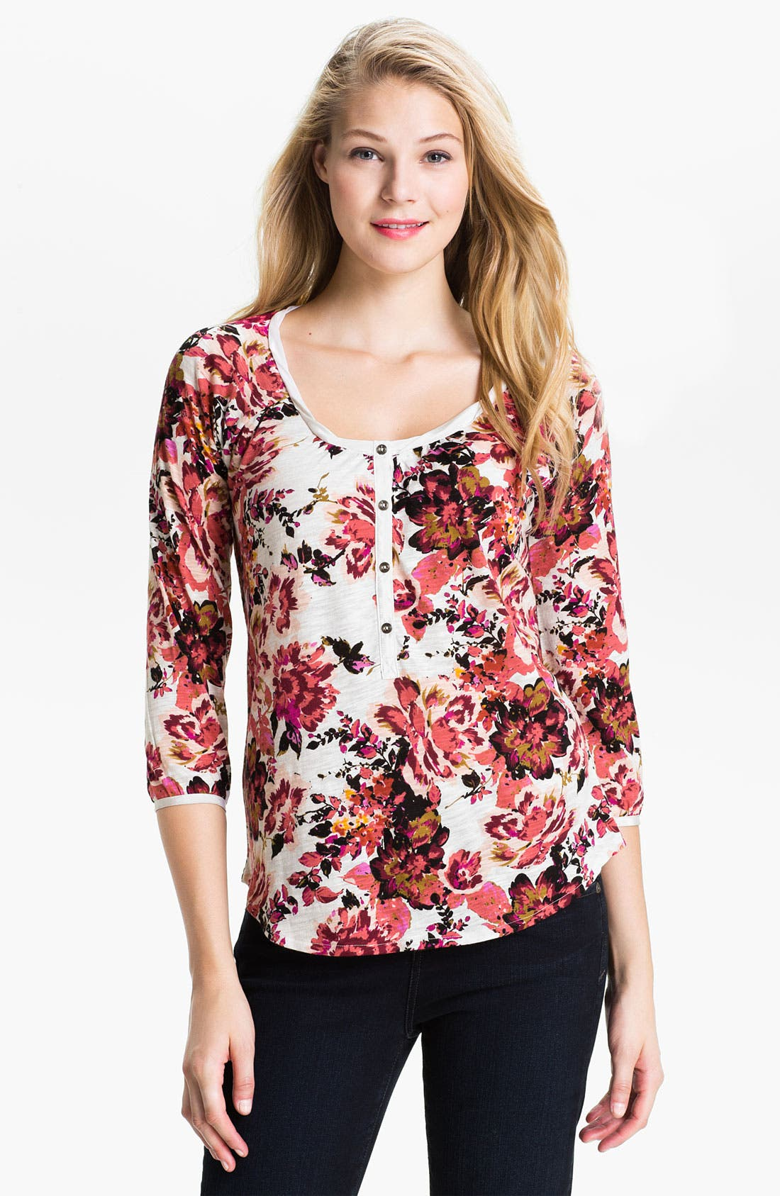 Alternate Image 1 Selected - Lucky Brand 'Kara - Painterly Rose' Henley Top