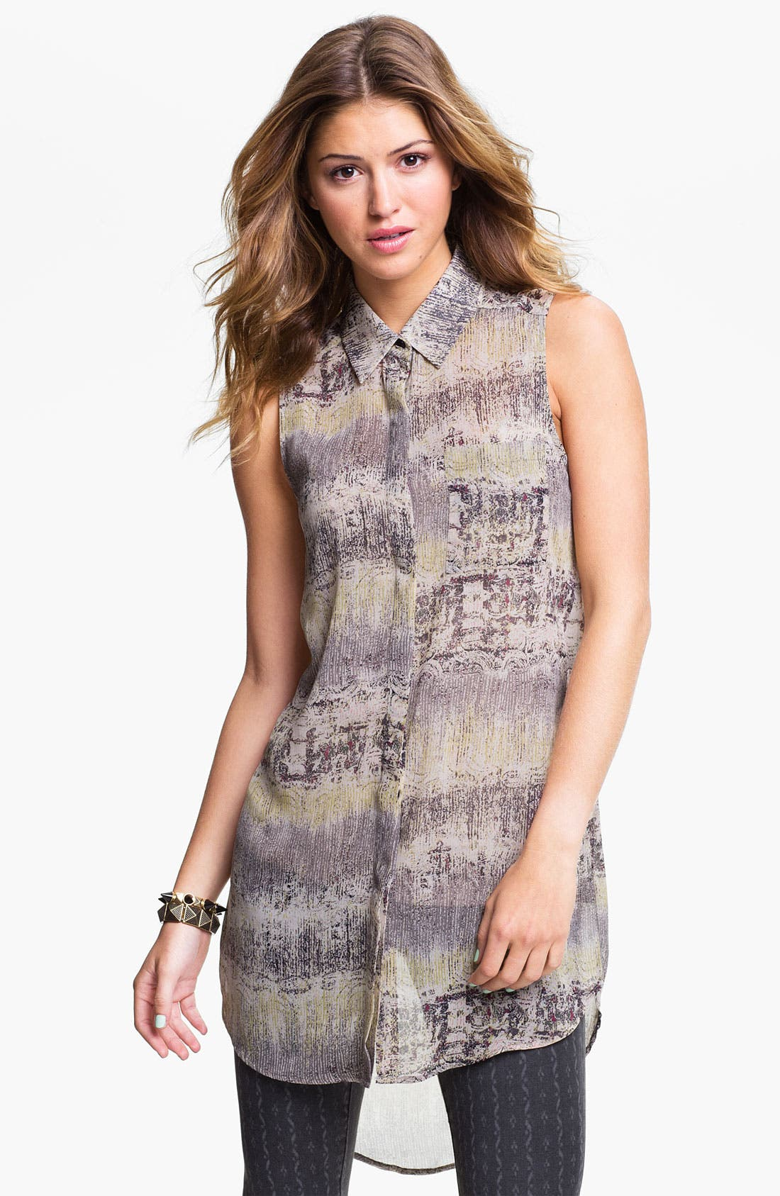 Alternate Image 1 Selected - Lush Sleeveless Shirt Tunic (Juniors)