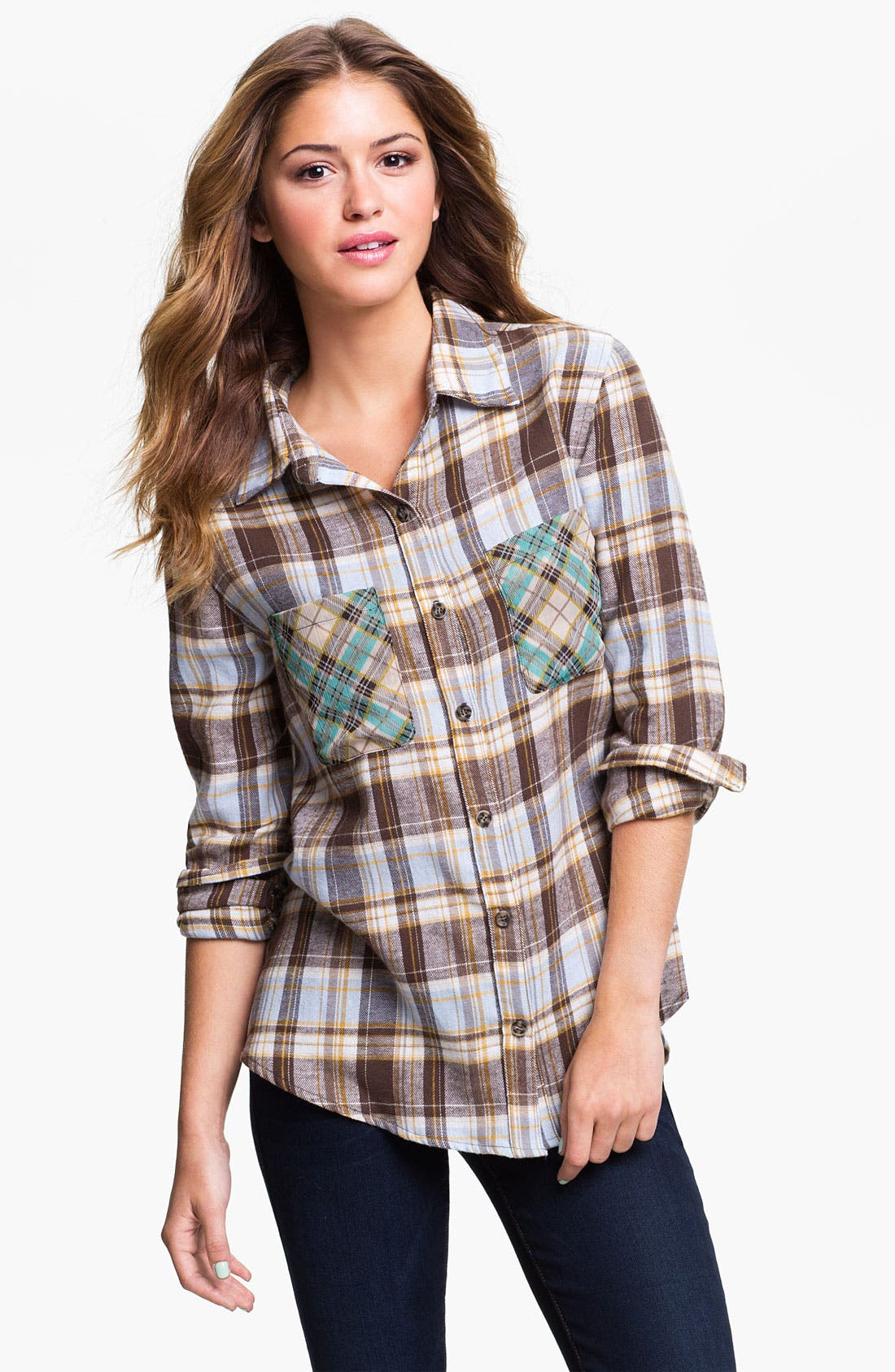Alternate Image 1 Selected - Mimi Chica Mixed Plaid Cutout Back Shirt (Juniors)
