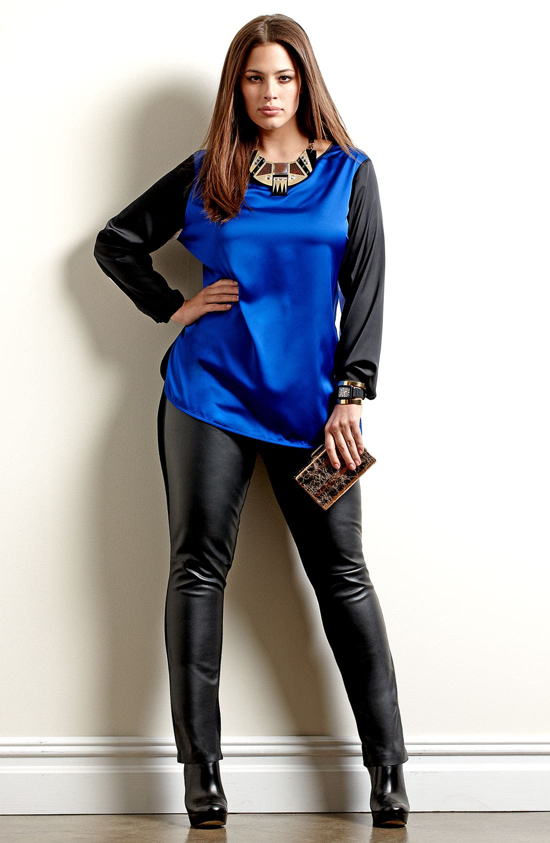 Alternate Image 6  - Two by Vince Camuto Faux Leather & Knit Leggings (Plus)
