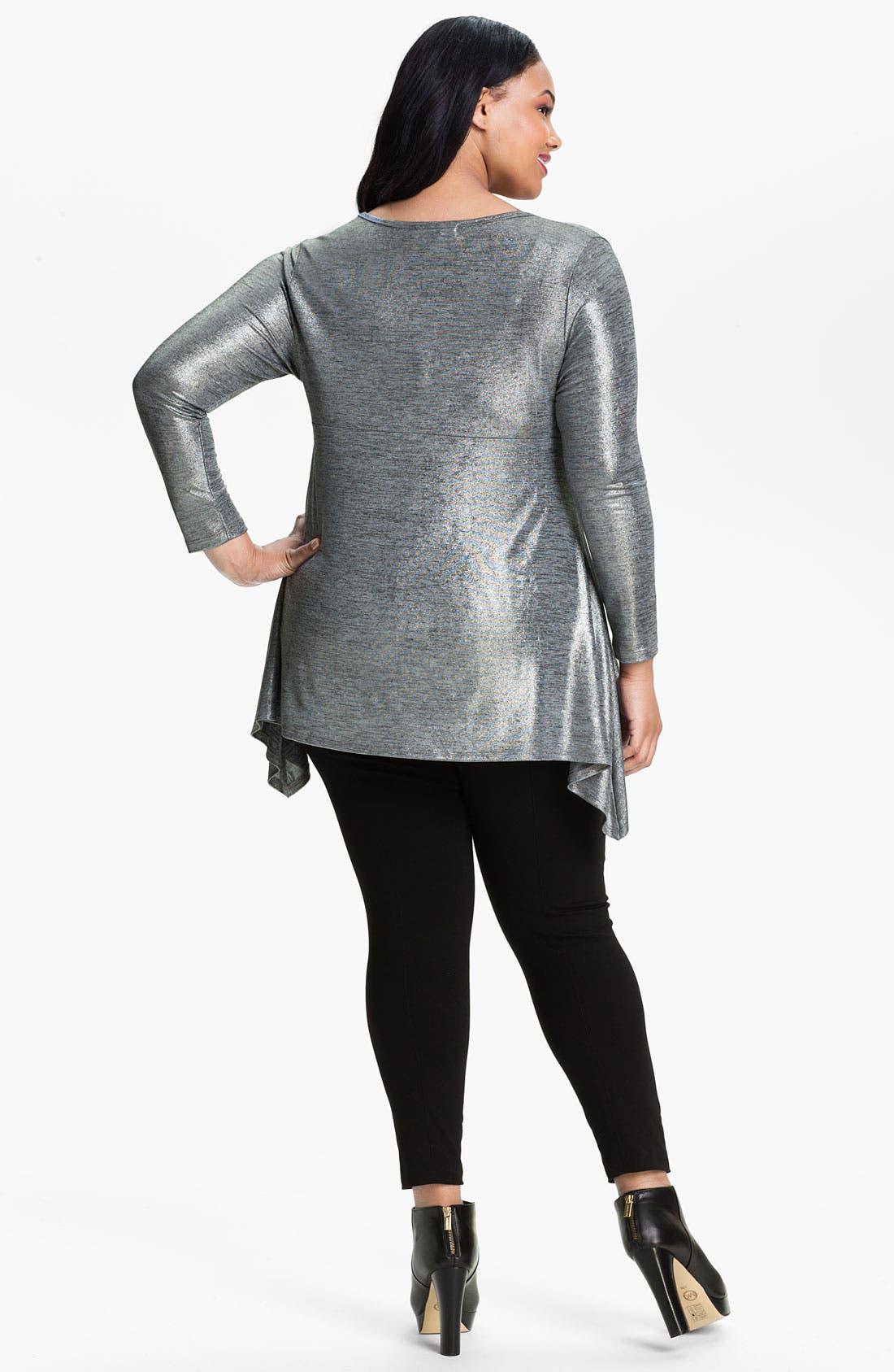 Alternate Image 2  - Karen Kane Metallic Handkerchief Tunic (Plus)