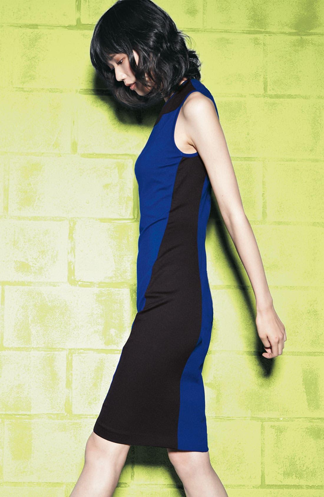 Alternate Image 4  - Cynthia Steffe Swirl Contrast Panel Ponte Sheath Dress