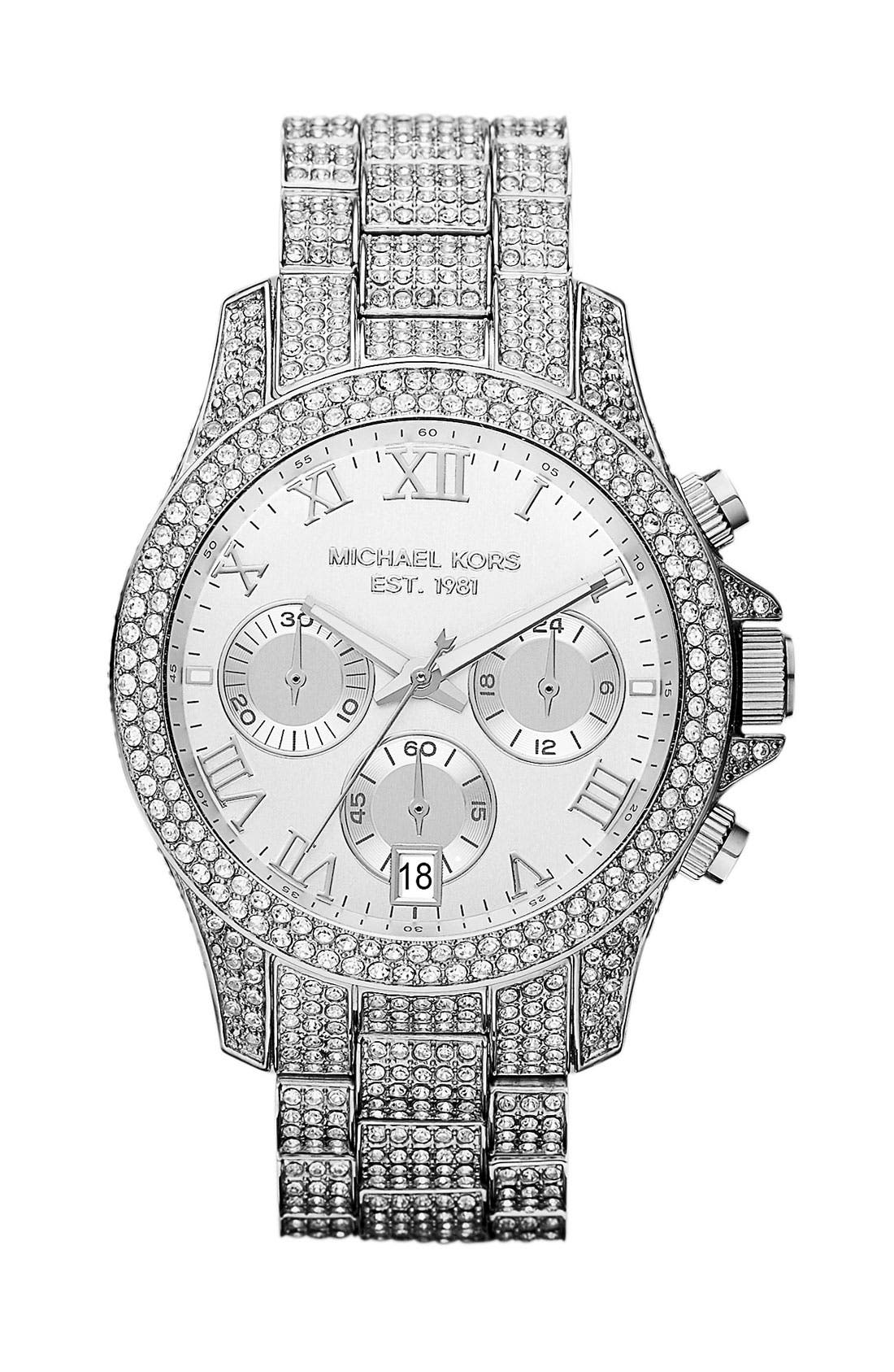 Alternate Image 1 Selected - Michael Kors 'Layton' Crystal Encrusted Watch