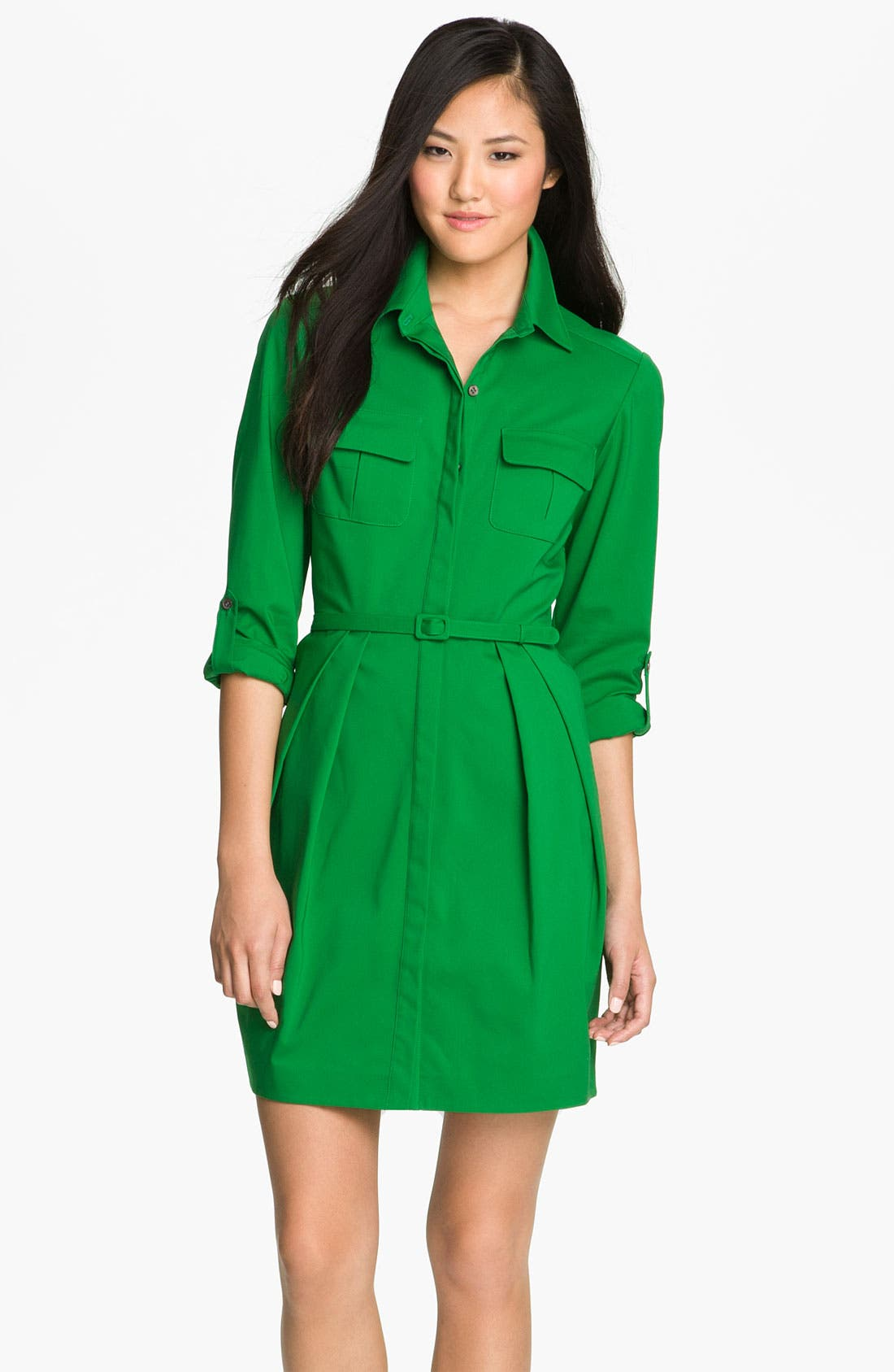 Alternate Image 1 Selected - Vince Camuto Roll Sleeve Shirtdress (Petite)