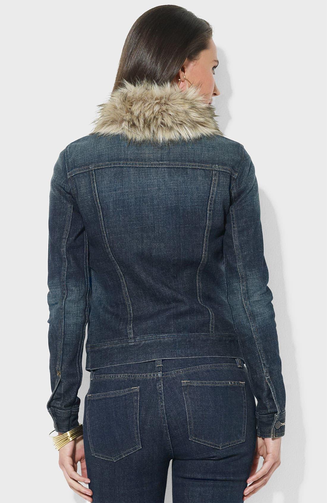 Alternate Image 2  - Lauren Ralph Lauren Faux Fur Trim Denim Jacket