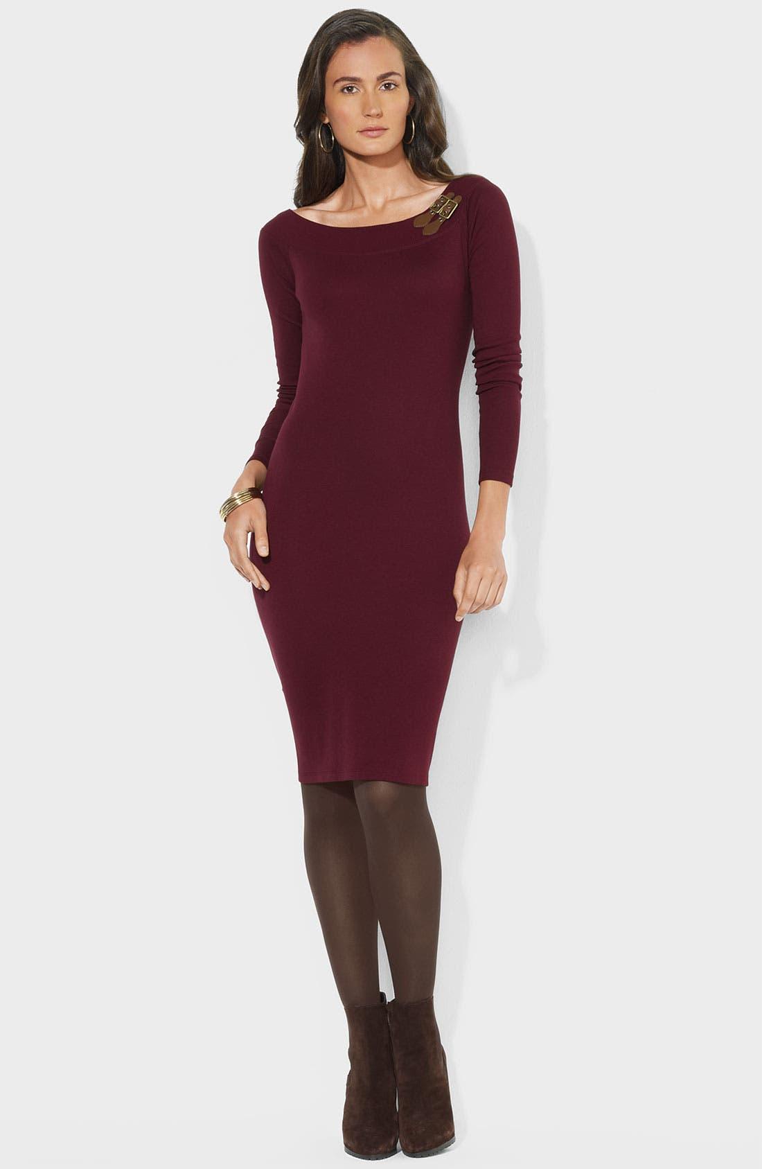 Alternate Image 1 Selected - Lauren Ralph Lauren Buckle Trim Boatneck Dress