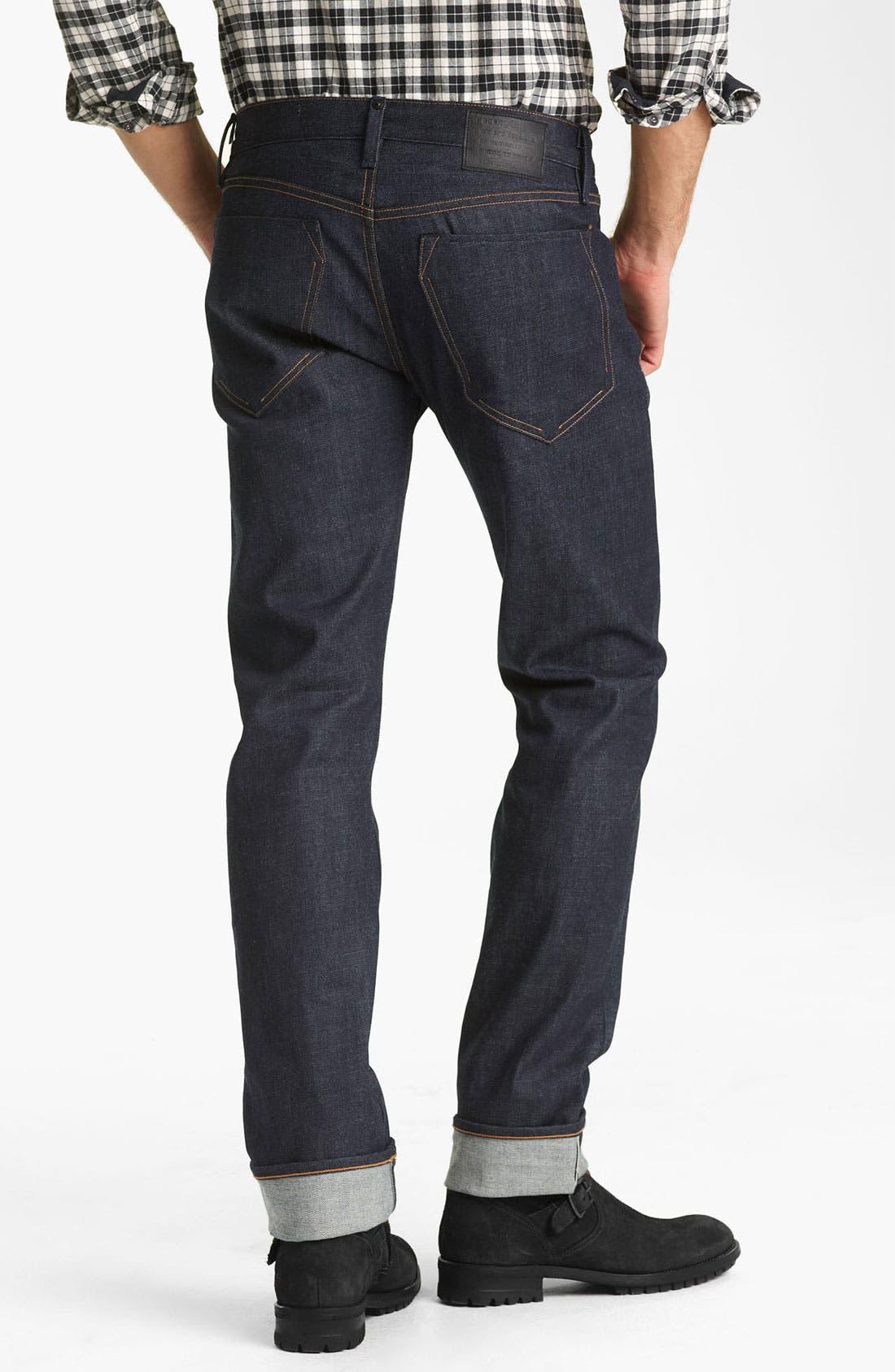 Alternate Image 1 Selected - Rogan 'Puck' Slim Straight Leg Selvedge Denim Jeans (Indigo)