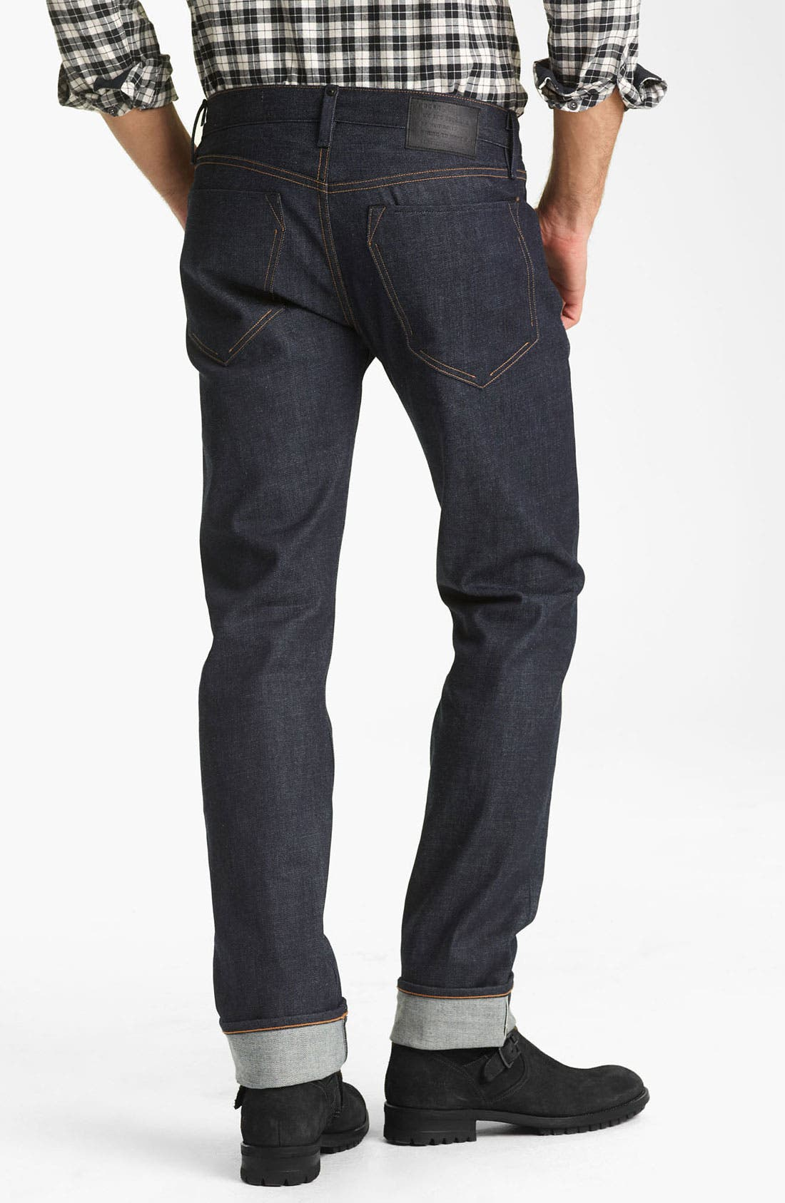 Main Image - Rogan 'Puck' Slim Straight Leg Selvedge Denim Jeans (Indigo)