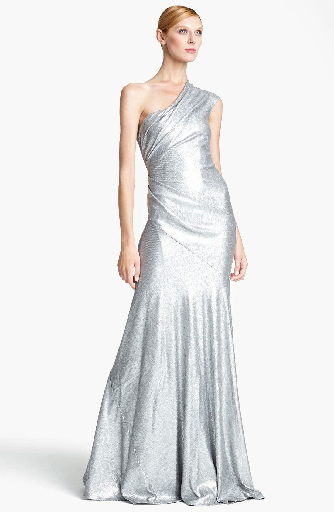 Main Image - Donna Karan Collection One Shoulder Sequin Gown