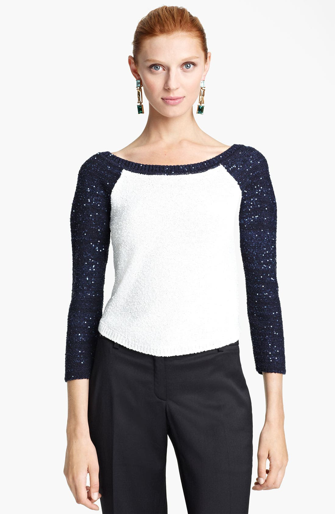Alternate Image 1 Selected - Oscar de la Renta Sequin Sleeve Bicolor Pullover