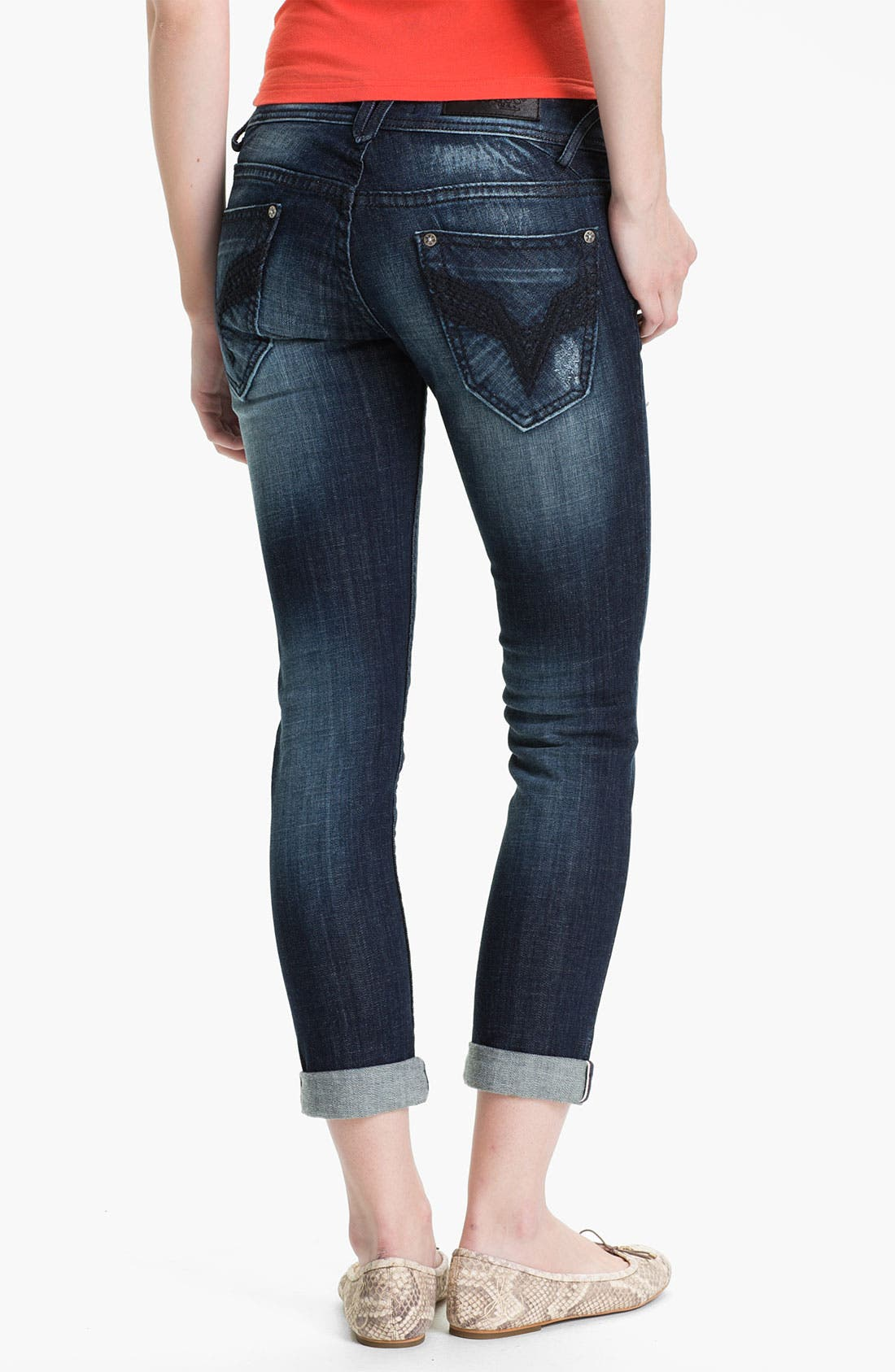 Alternate Image 2  - Vigoss Deconstructed Skinny Jeans (Medium) (Juniors)