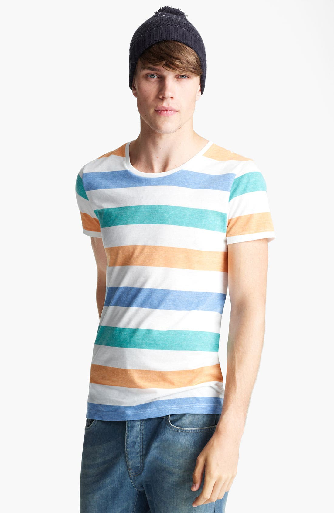 Alternate Image 1 Selected - Topman 'Regatta Rainbow' Crewneck T-Shirt
