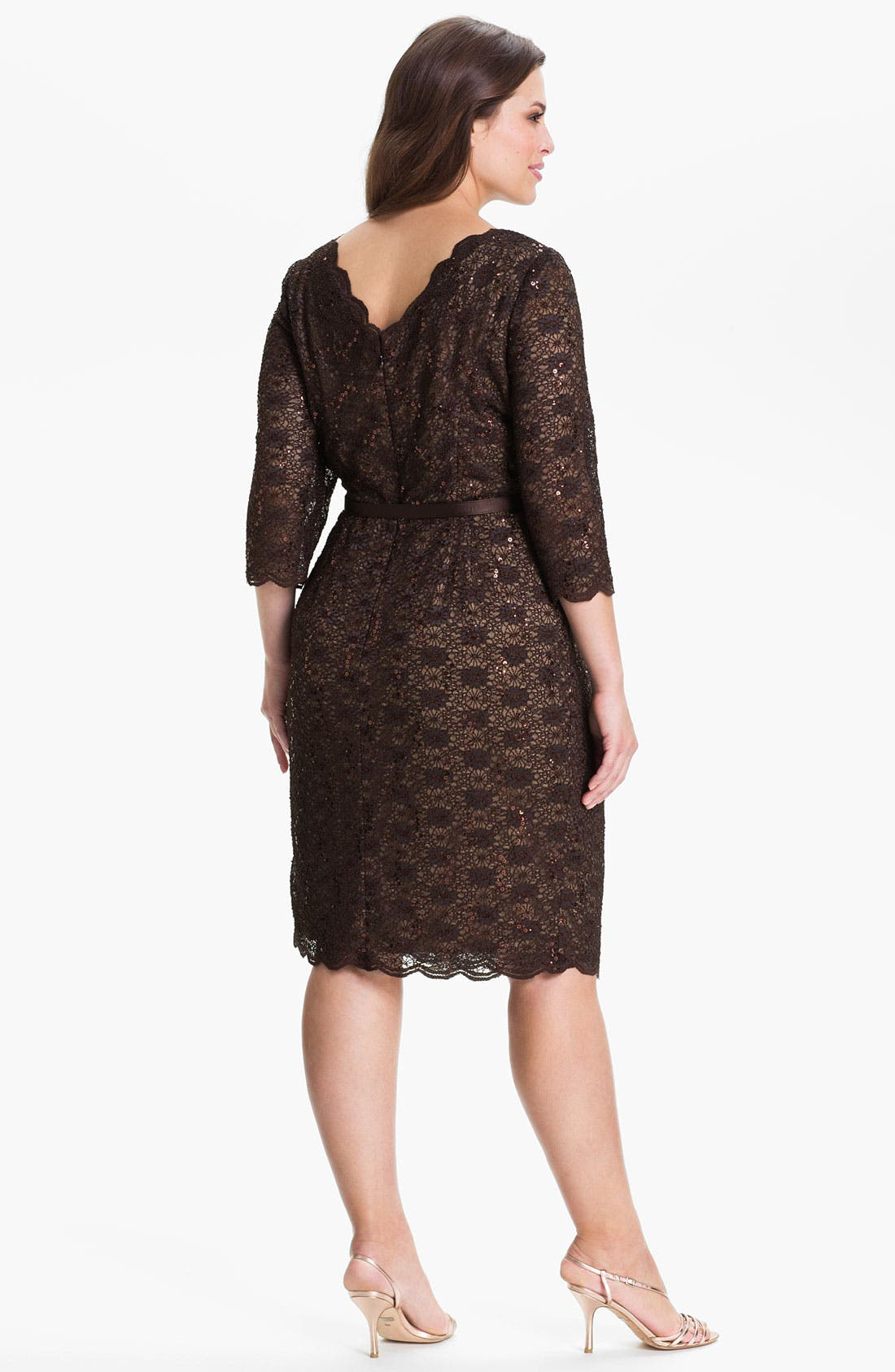 Alternate Image 2  - Alex Evenings Belted Lace Sheath Dress (Plus)