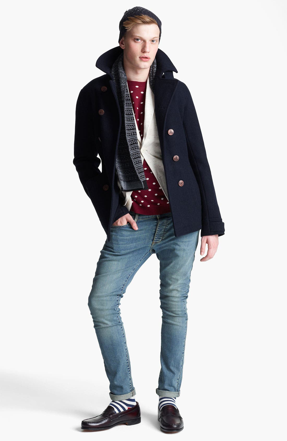 Alternate Image 4  - Topman Double Breasted Peacoat