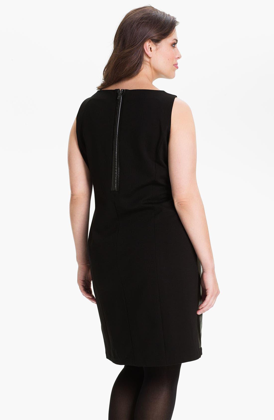 Alternate Image 2  - DKNYC Faux Leather Dress (Plus)