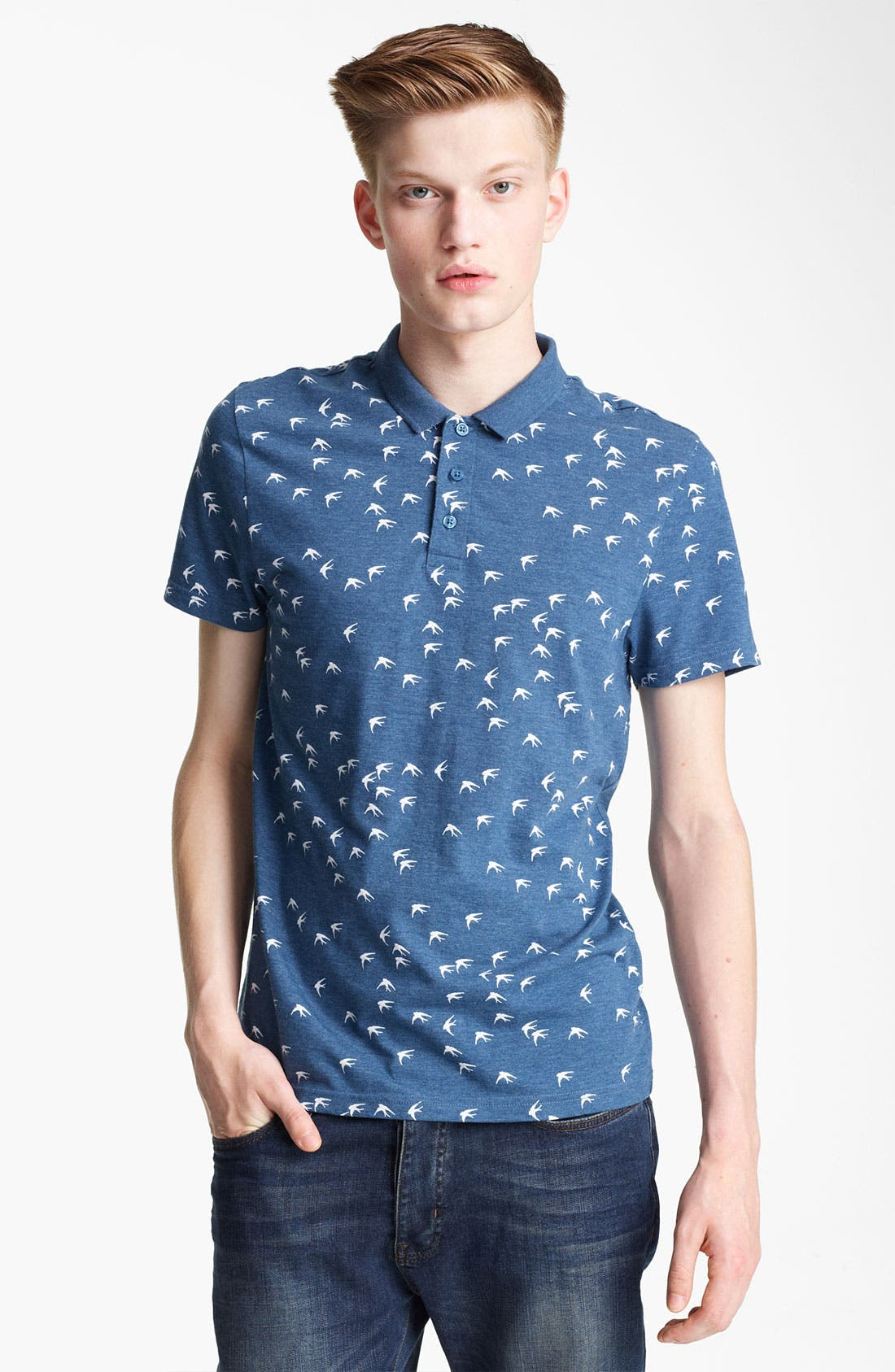 Alternate Image 1 Selected - Topman Bird Print Polo